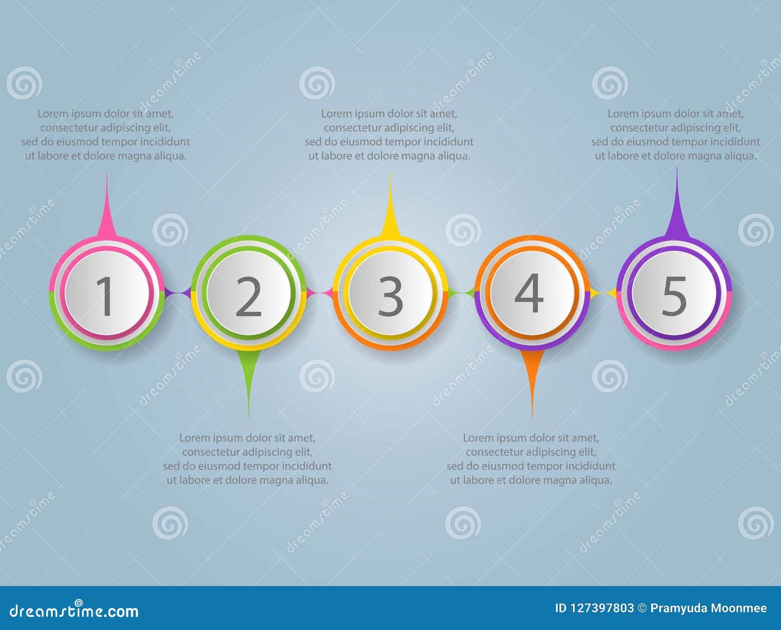 Nowożytny infographic projekta szablon 5 łączył stubarwnego circ