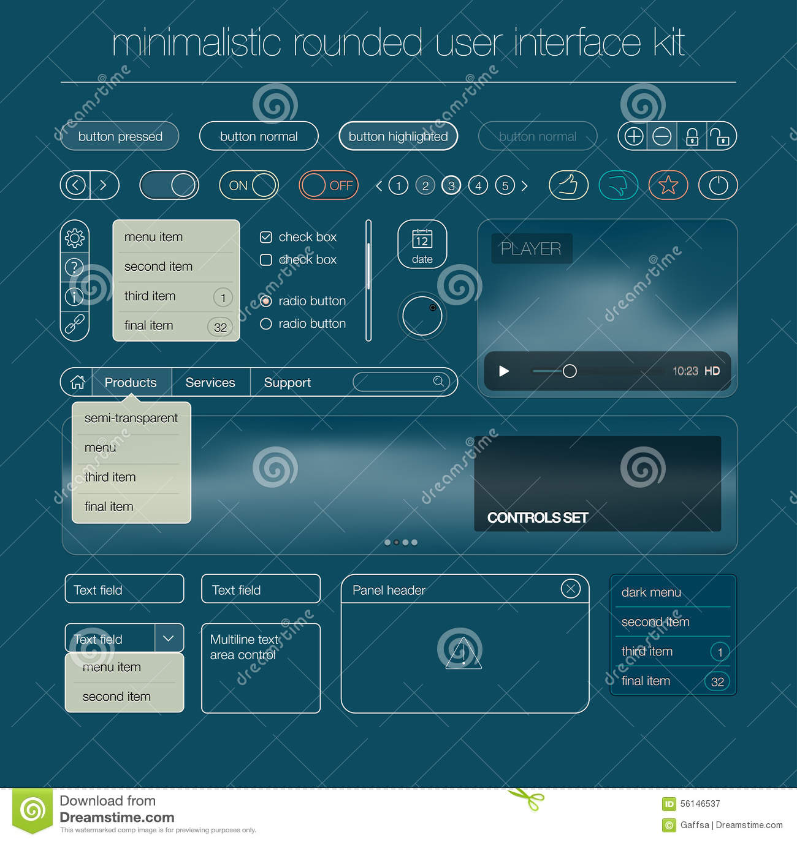Nowożytny interfejsu użytkownika ekranu szablonu zestaw dla