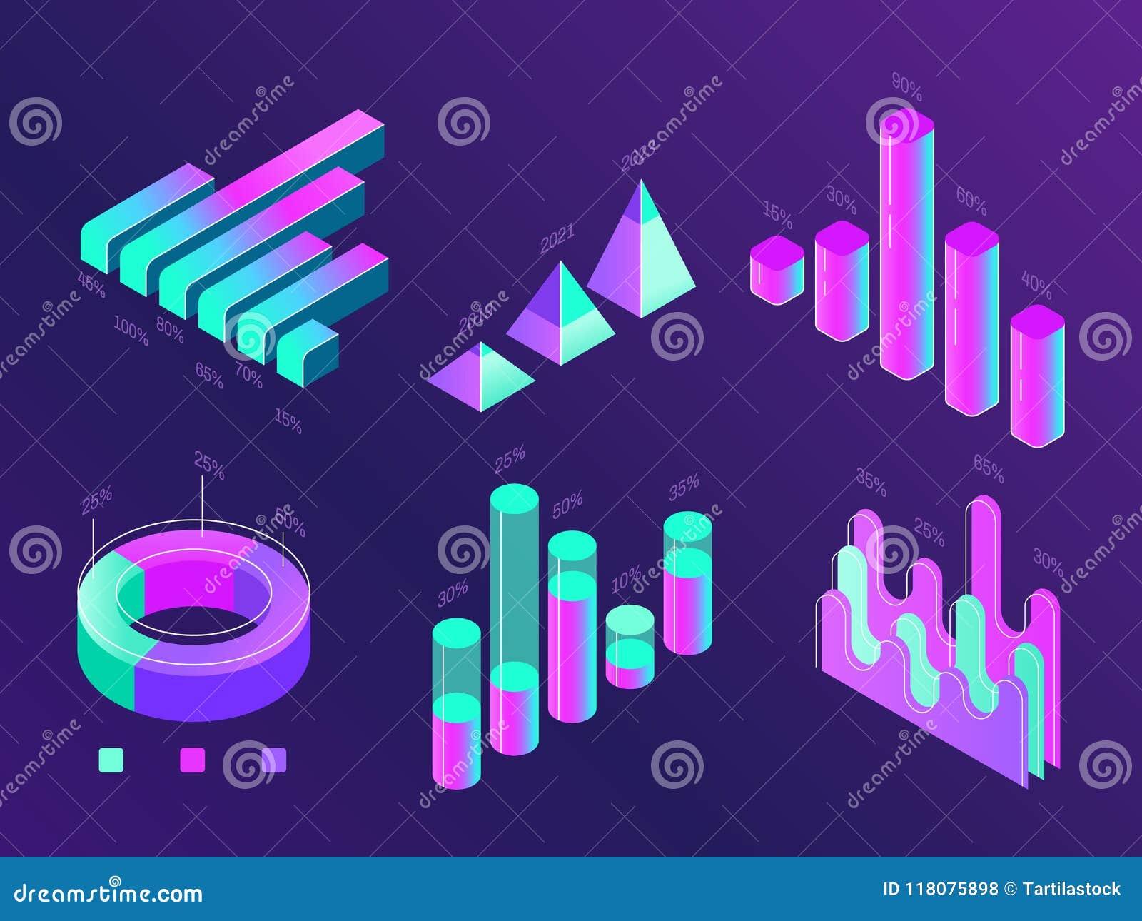 Nowożytny isometric biznesowy infographic Odsetek mapy, statystyk kolumny i diagramy, Dane 3d prezentaci mapa
