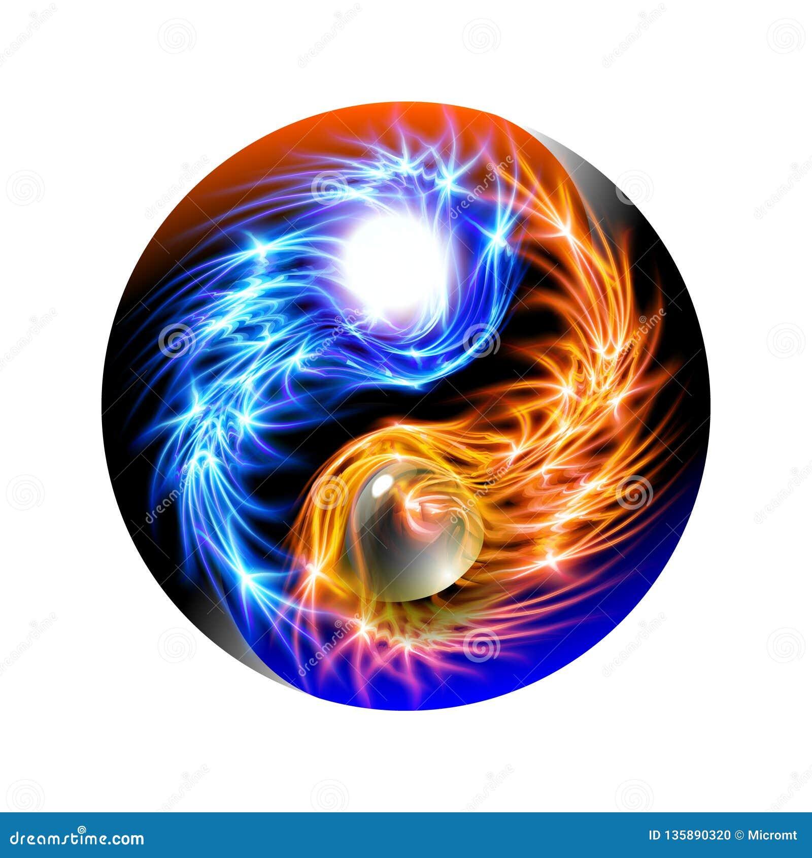 Nowożytny jarzący się pojęcie Yin i Yang mandala błękitnego i czerwonego Kolorowy ornamentacyjny duchowy relaks Piękny iluminując