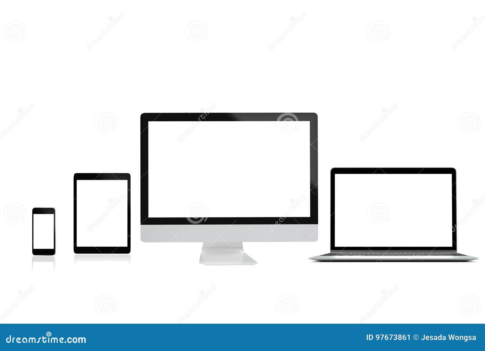 Nowożytny komputerowy laptopu telefon komórkowy, pastylka i odizolowywamy na białym tle dla mockup, 3D rendering