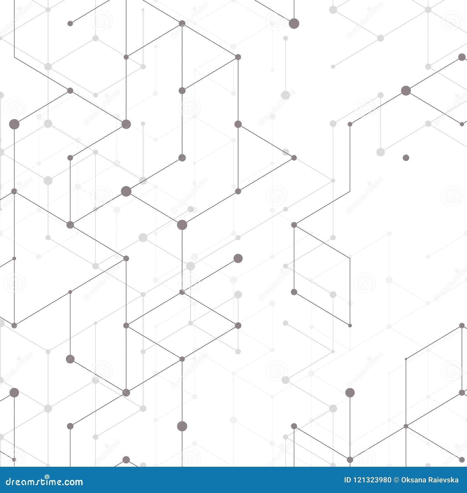 Nowożytny kreskowej sztuki wzór z złączonymi liniami na białym tle Podłączeniowa struktura Abstrakcjonistyczna geometryczna grafi