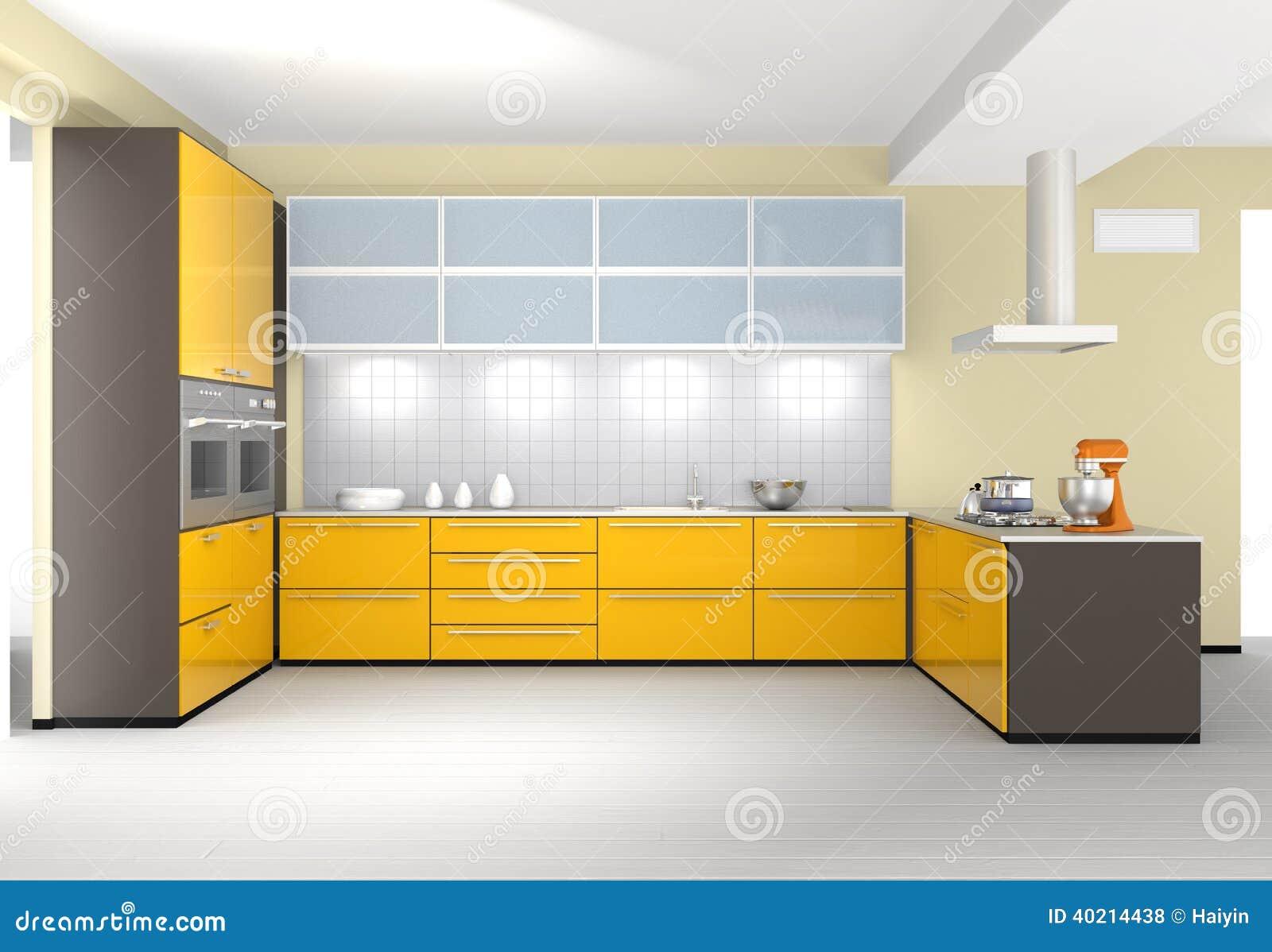 Nowożytny kuchenny wnętrze w kolorze żółtym