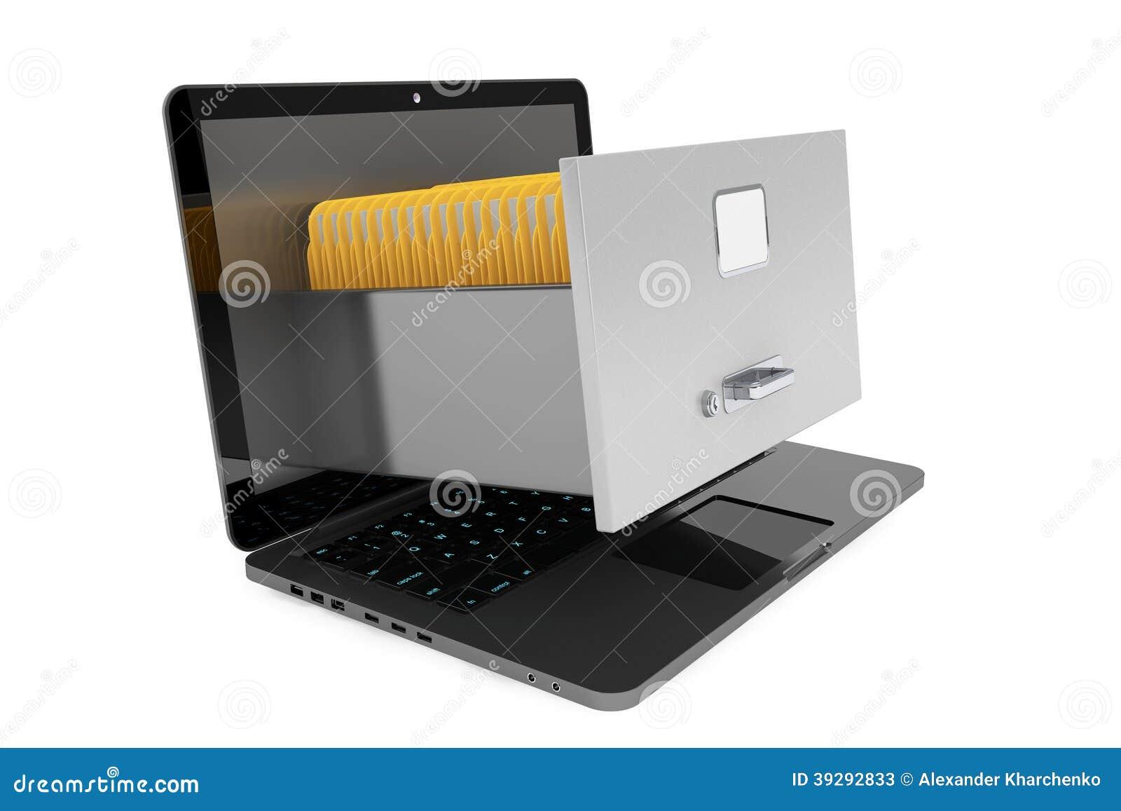 Nowożytny laptop z kartoteka gabinetem