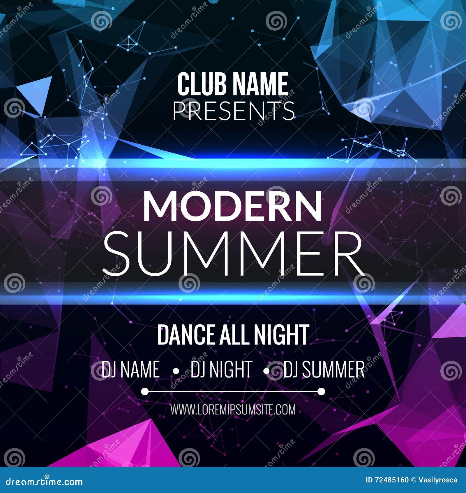 Nowożytny lato klubu muzyki przyjęcia szablon, Prywatka ulotka, broszurka Nocy przyjęcia klubu dźwięka sztandaru plakat