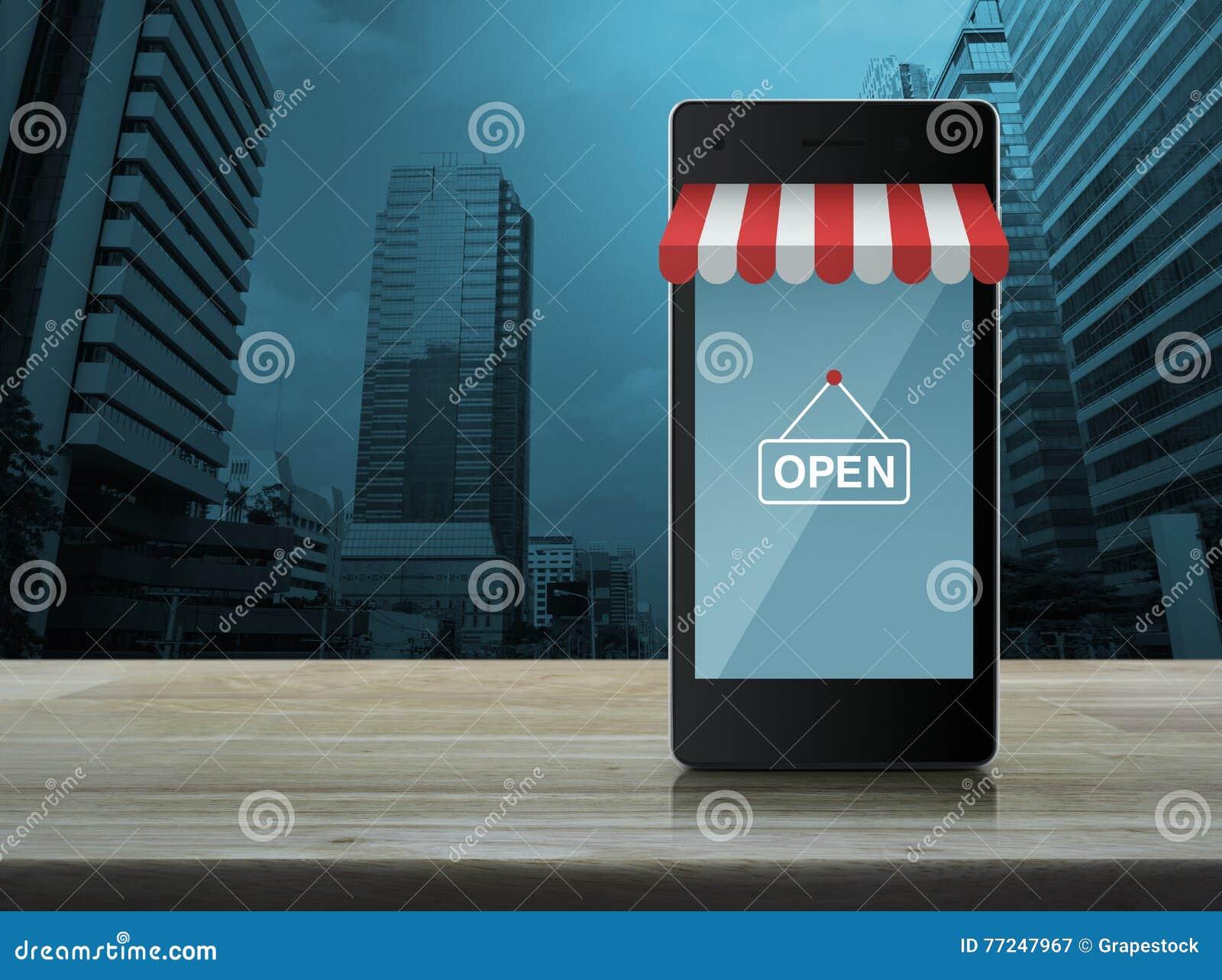 Nowożytny mądrze telefon komórkowy na z kreskową zakupy sklepu grafiką