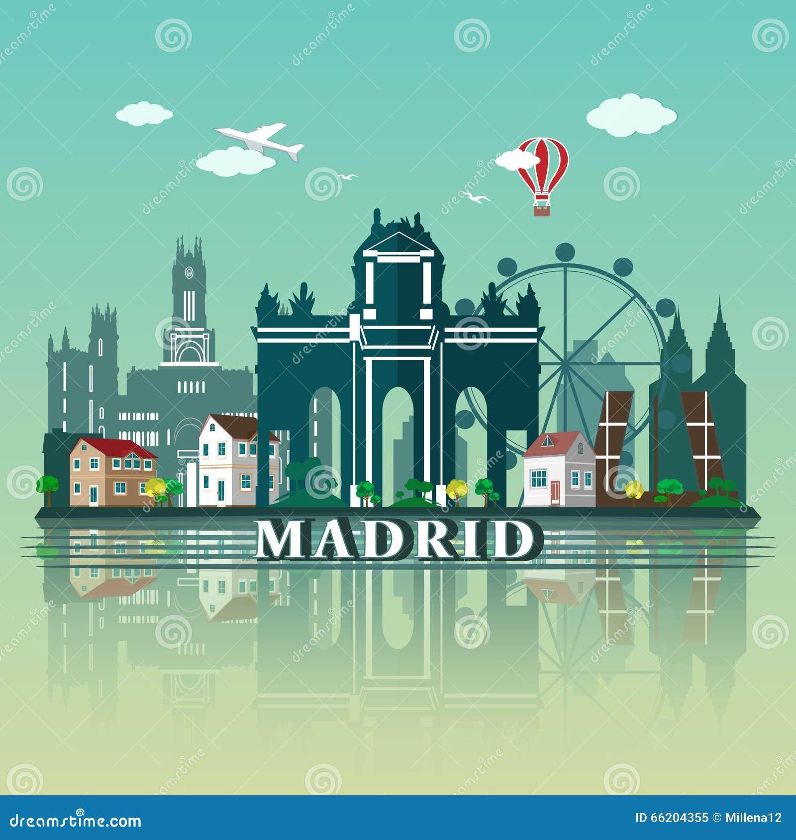 Nowożytny Madryt miasta linii horyzontu projekt Hiszpania