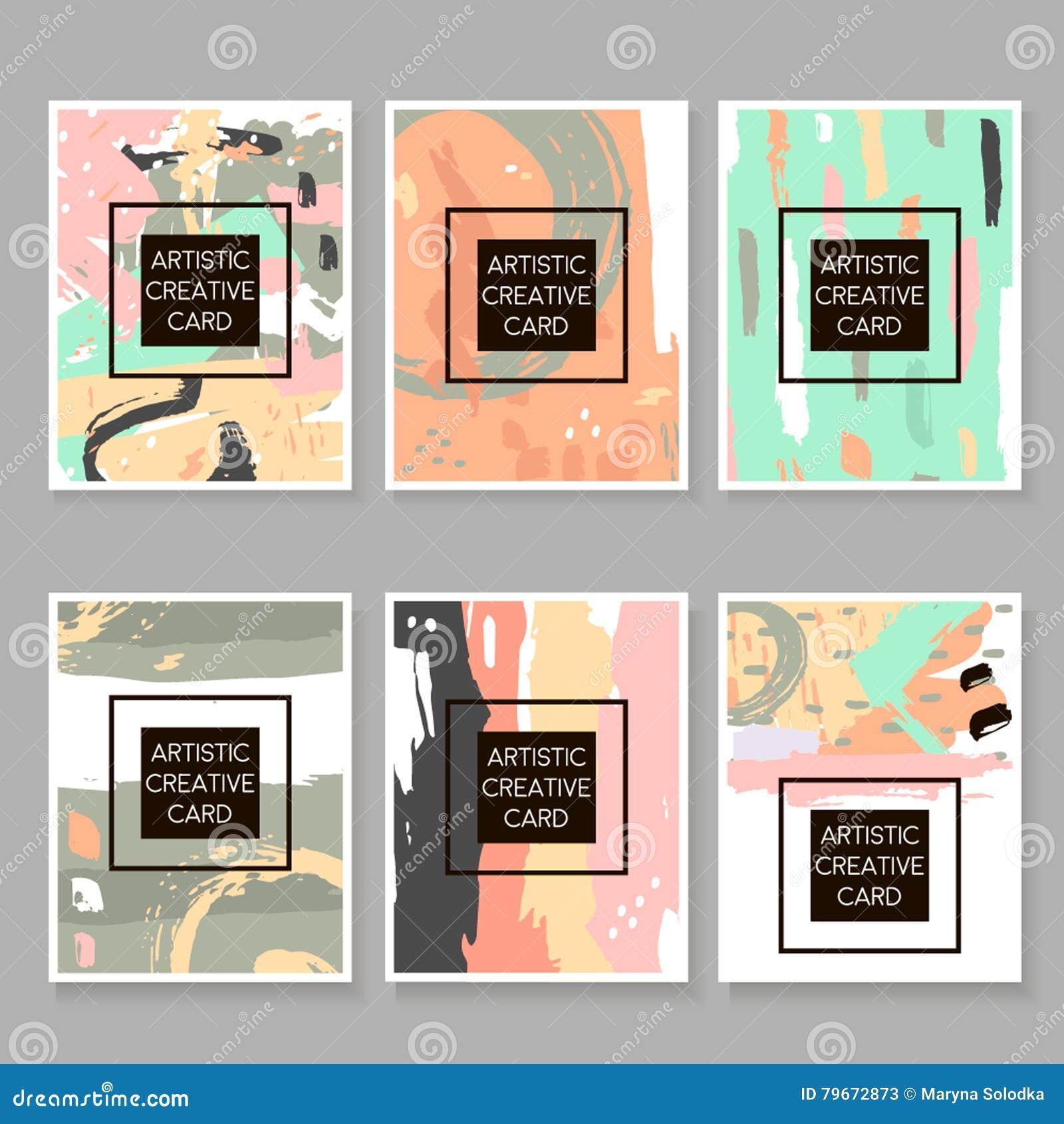 Nowożytny modniś ustawiający artystyczne karty, plakaty, plakaty, ulotki, zaproszenia Modny tło z ręka rysującymi elementami