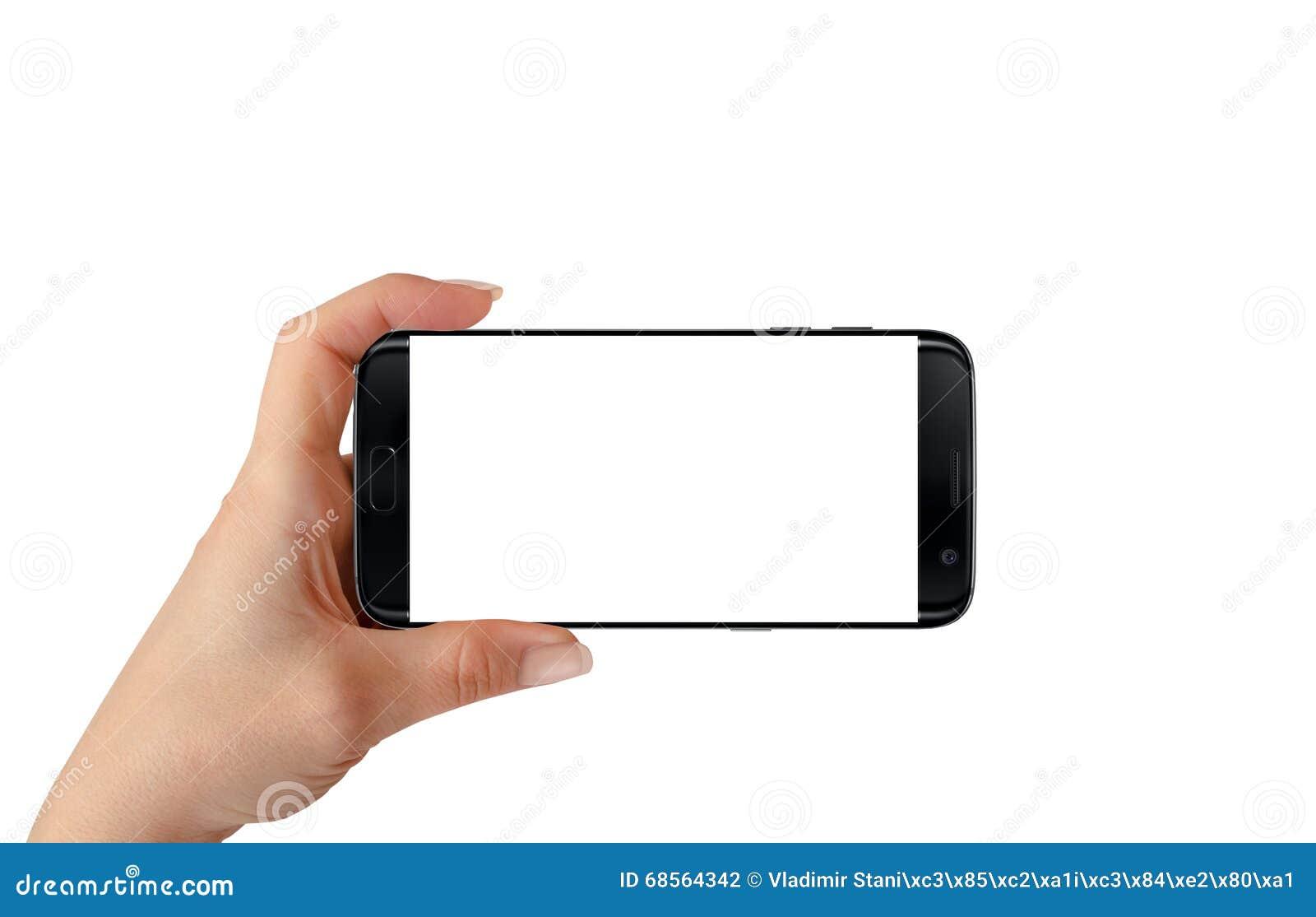 Nowożytny odosobniony czarny mądrze telefon w kobiety ręce w horyzontalnej pozyci
