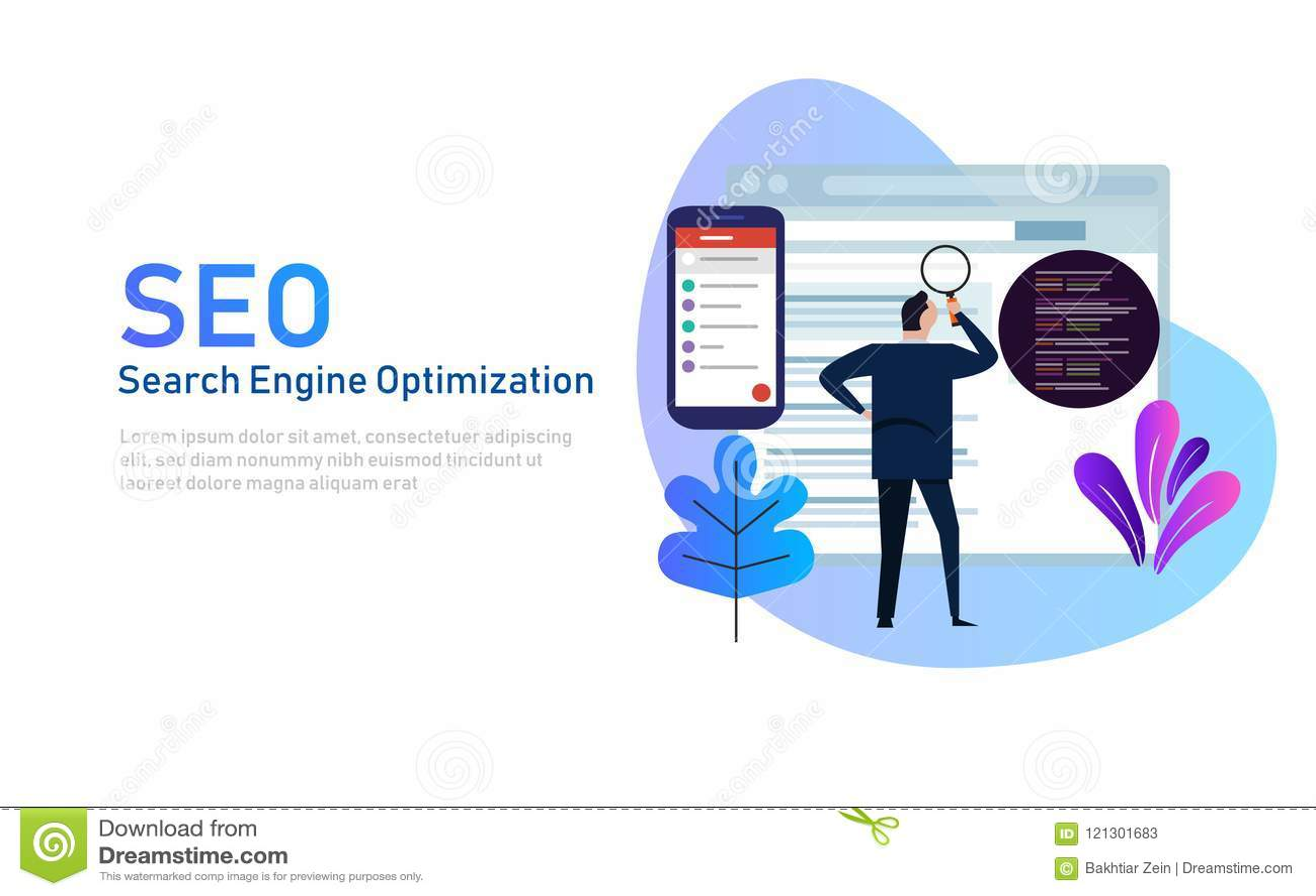 Nowożytny płaski projekta pojęcie SEO wyszukiwarki optymalizacja dla strony internetowej i wiszącej ozdoby strony internetowej De
