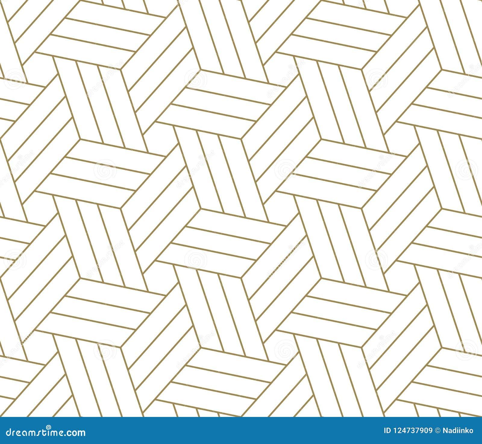 Nowożytny prosty geometryczny wektorowy bezszwowy wzór z złoto linii teksturą na białym tle Lekka abstrakcjonistyczna tapeta