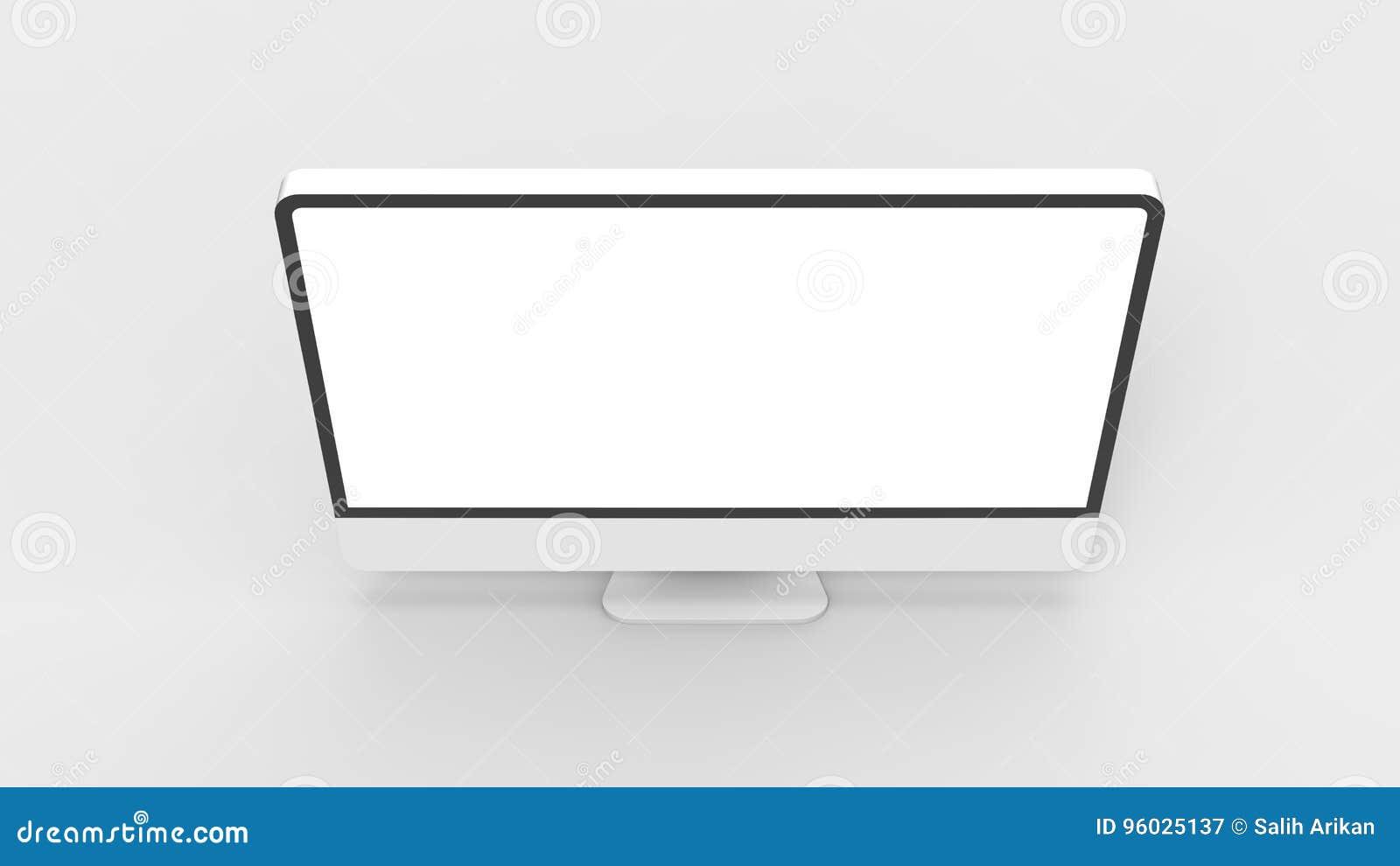 Nowożytny pusty monitoru ekran na białym tle 3d bolączka