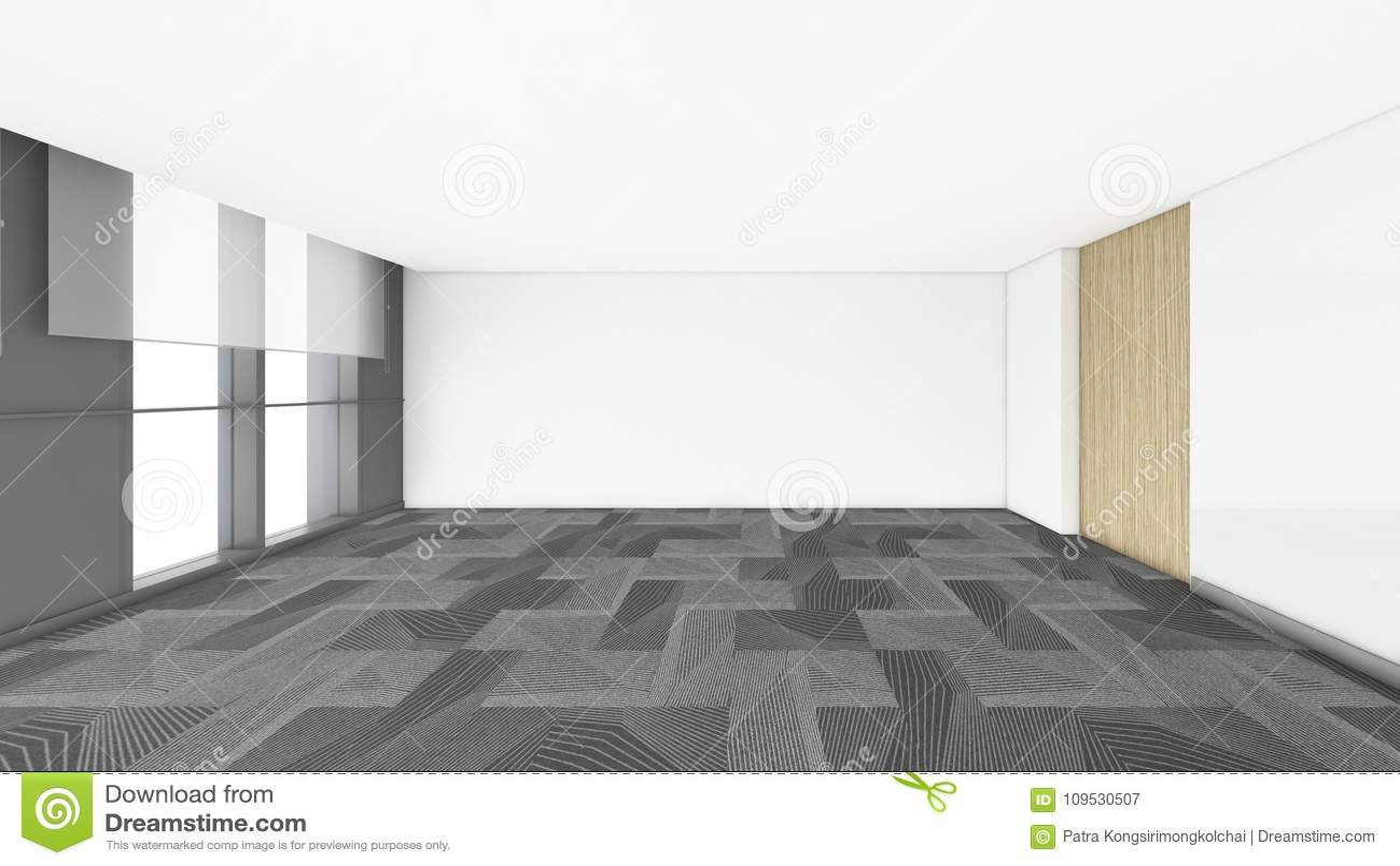 Nowożytny Pusty pokój, 3d odpłaca się wewnętrznego projekt, egzamin próbny w górę illustrati