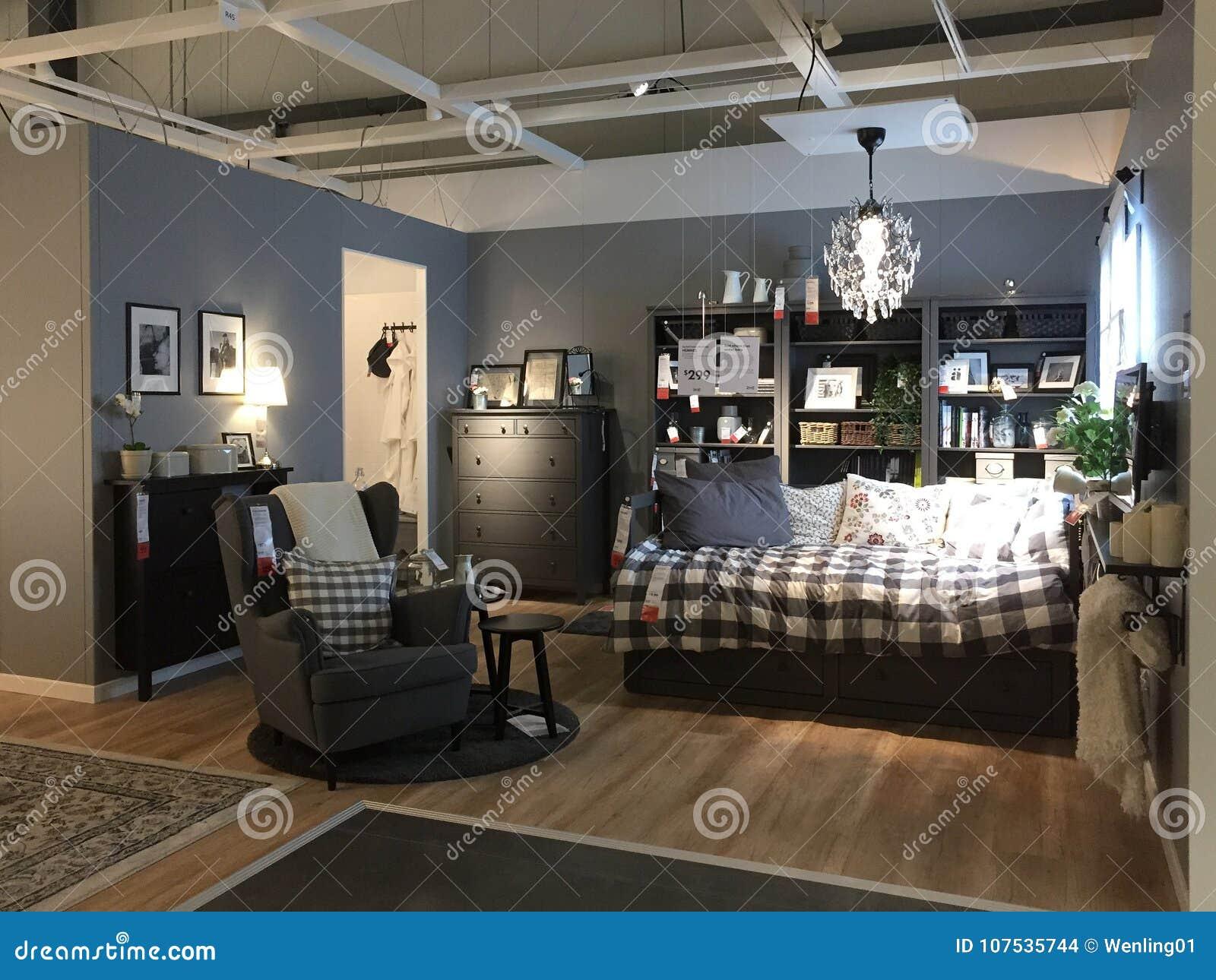 Nowożytny Sypialnia Projekt Przy Sklepem Ikea Obraz Stock
