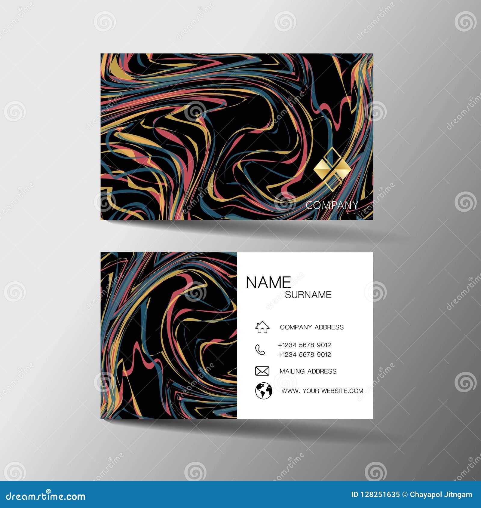 Nowożytny wizytówka szablonu projekt Z inspiracją od abstrakt linii Kontaktowa karta dla firmy