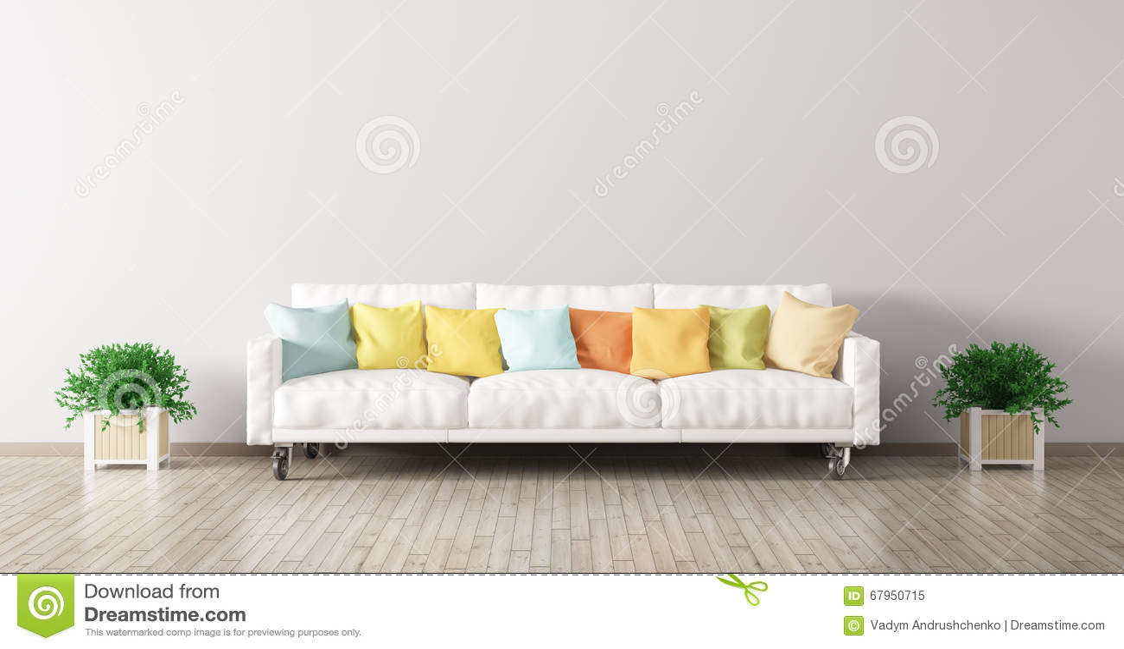 Nowożytny wnętrze żywy pokój z białą kanapą 3d odpłaca się