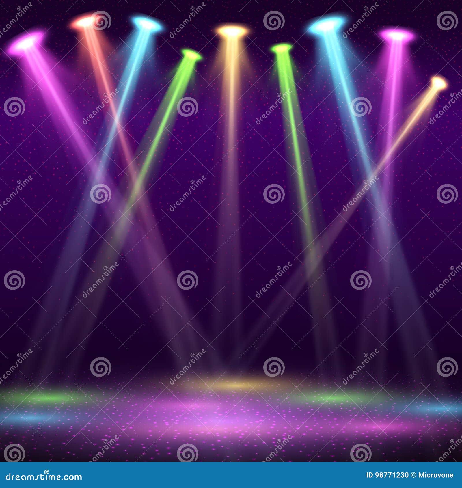 Nowożytny wnętrze klub nocny z pustą przedstawienie sceną i koloru punktem zaświeca wektorową ilustrację