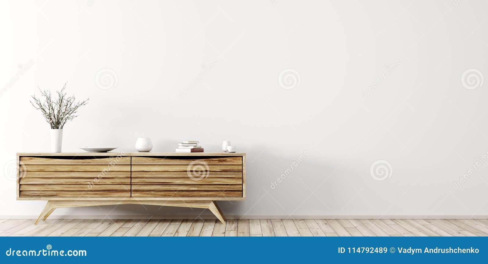 Nowożytny wnętrze z drewnianym dresser 3d renderingiem
