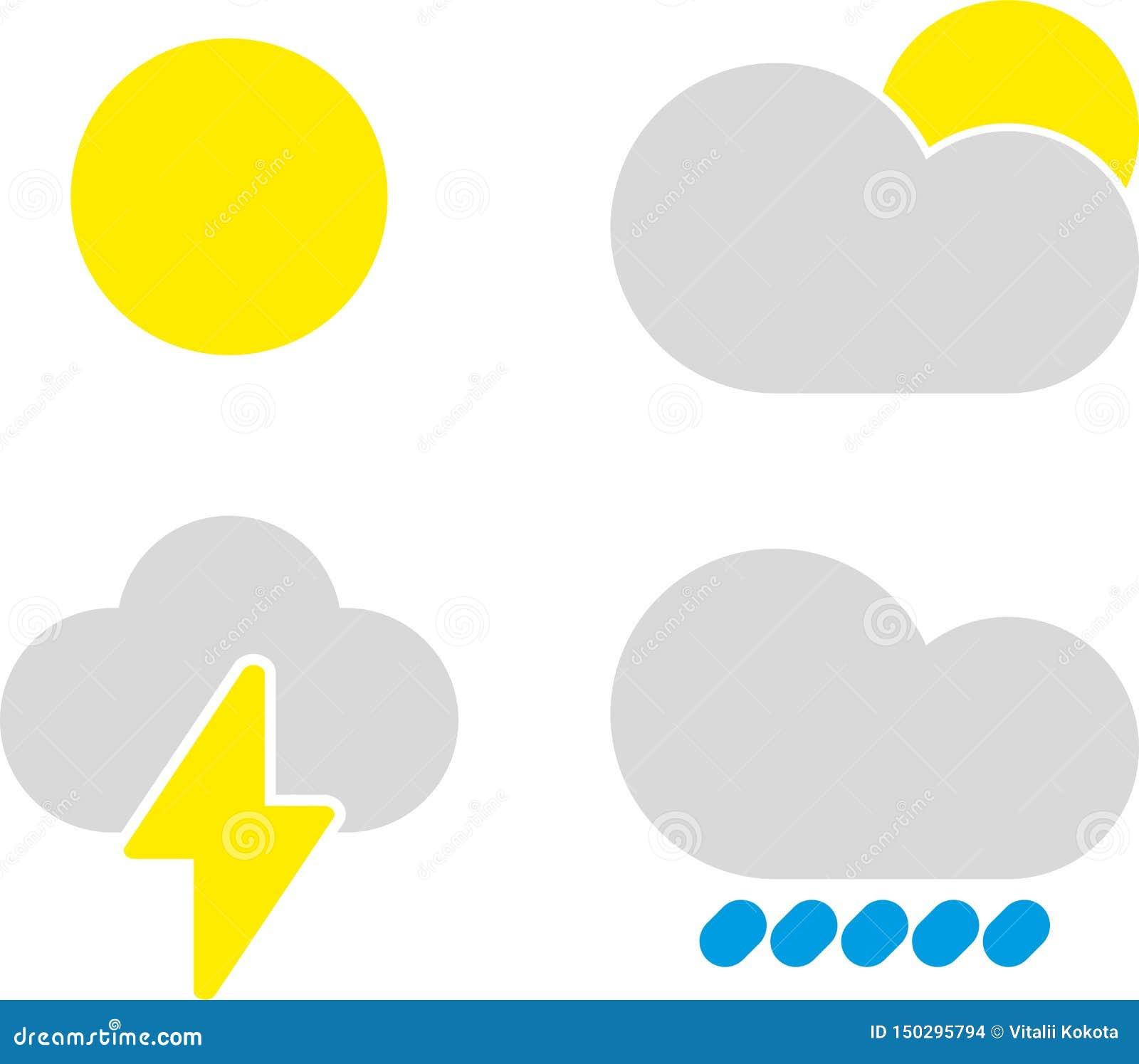 Nowo?ytne pogodowe ikony ustawia? Płascy symbole na białym tle