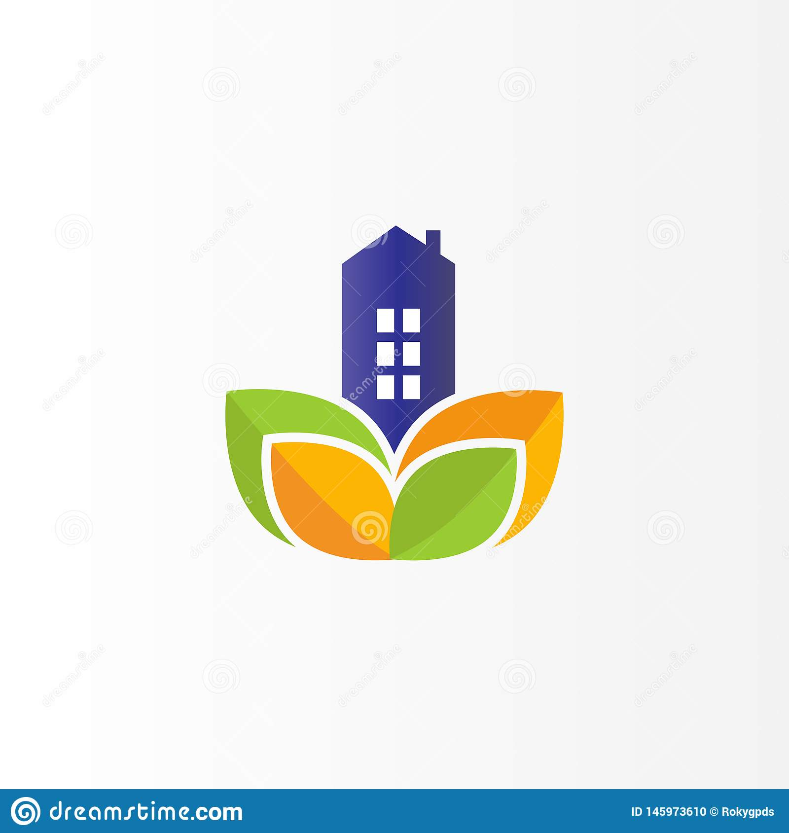Nowo?ytny Real Estate logo projekt Płaski logo z liściem