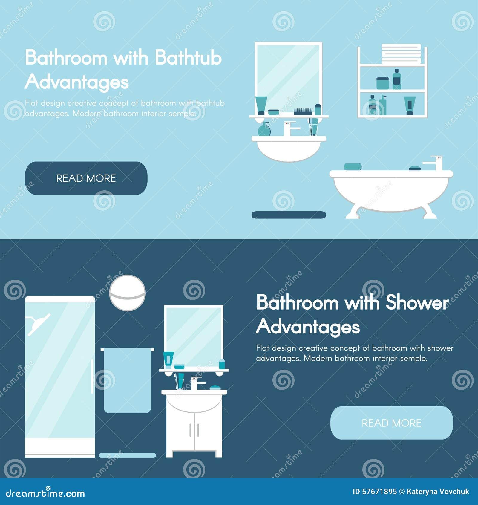 Nowoczesna do łazienki Łazienek wnętrzy sztandaru horyzontalny płaski set Wanny i prysznic przewagi