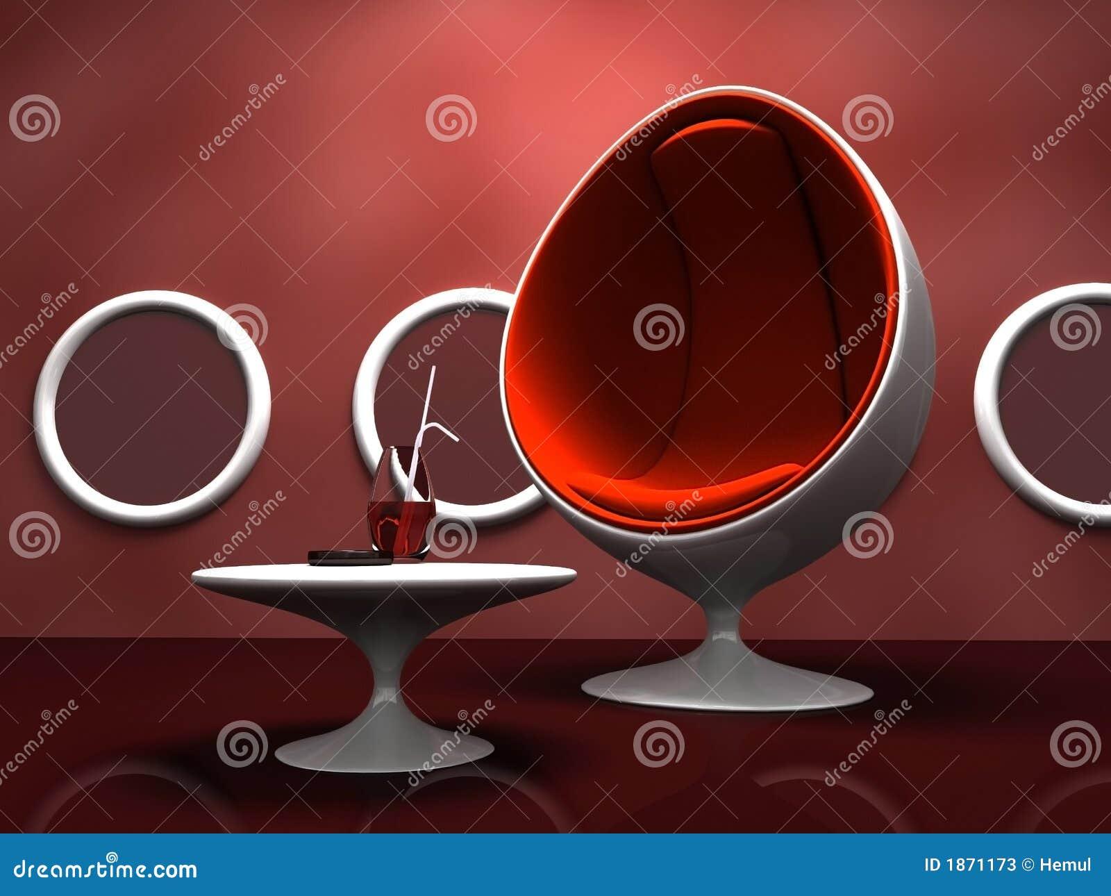 Nowoczesne krzesło czerwonym wewnętrznego tabeli