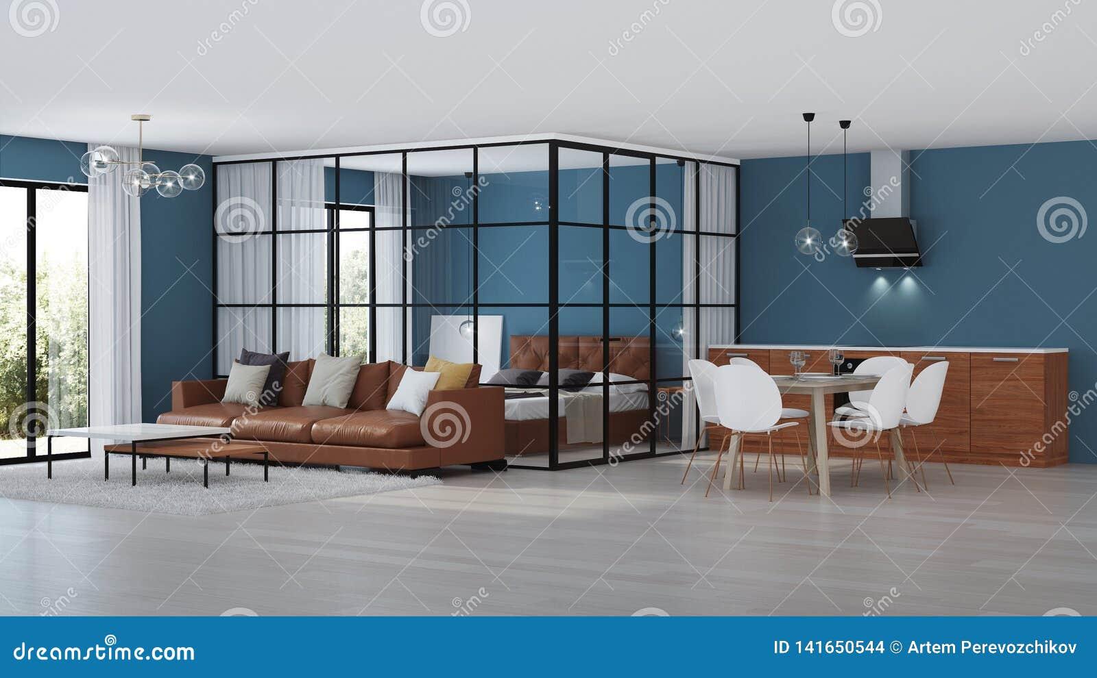 Nowoczesne wewnętrznego w domu Sypialnia z szklanymi rozdziałami