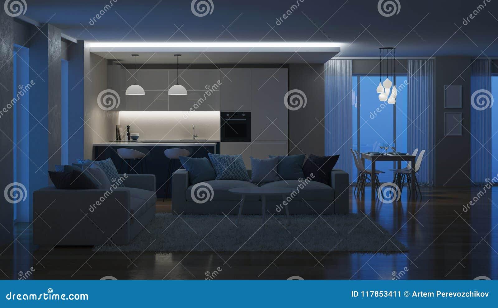 Nowoczesne wewnętrznego w domu Wieczór oświetlenie noc