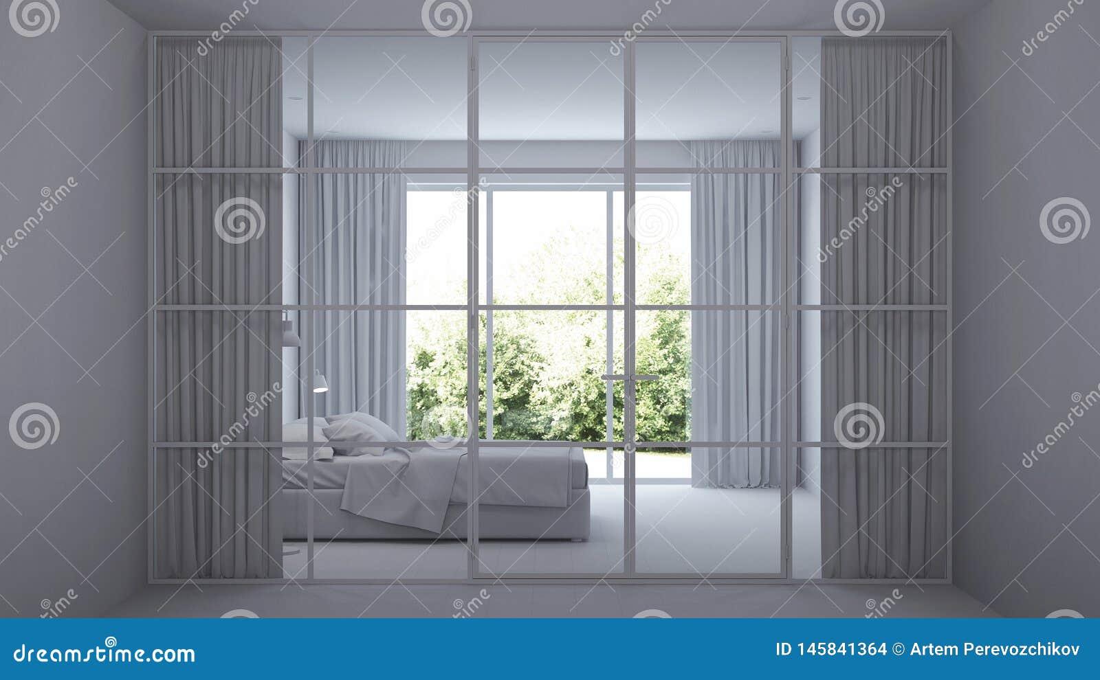 Nowoczesne wewn?trznego w domu Wewn?trzna sypialnia z szklanymi rozdzia?ami