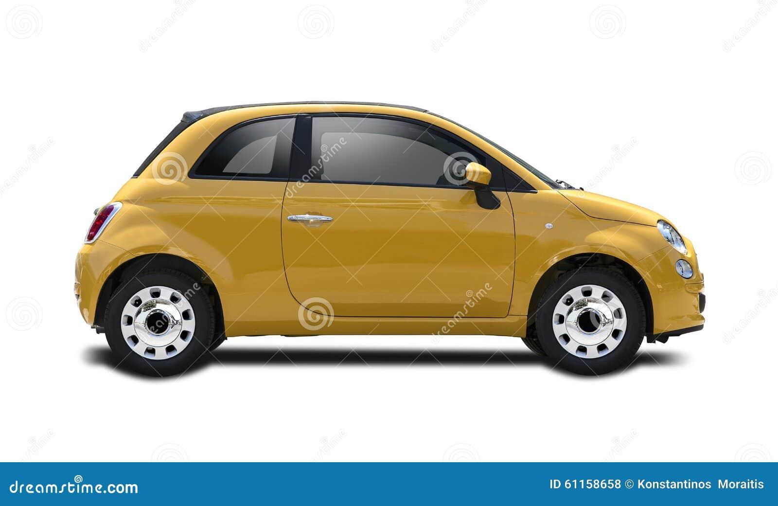 Aktualne Nowy żółty Fiat 500 ilustracji. Ilustracja złożonej z cara - 61158658 CR91