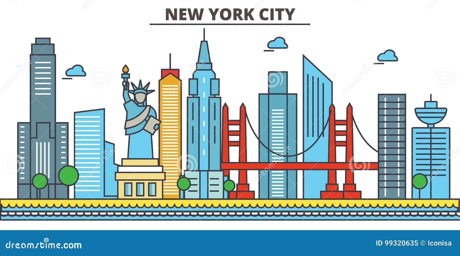 Nowy Jork, Miasto Nowy Jork tła miasta projekta linia horyzontu wektor twój