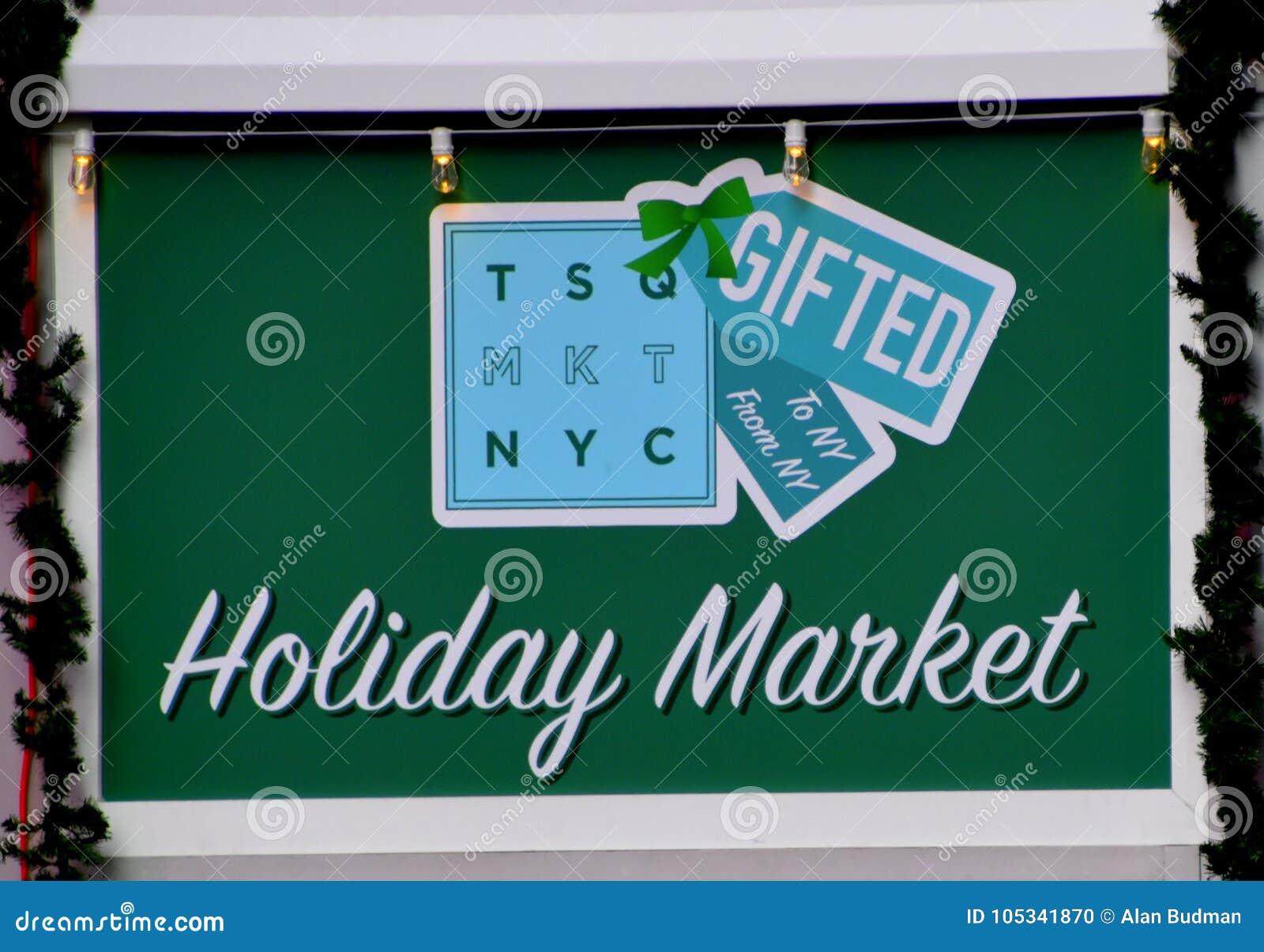 Nowy Jork, NY - Grudzień 2, 2017 To jest znak dla wakacje rynku lokalizować w times square Manhattan, Nowy Jork