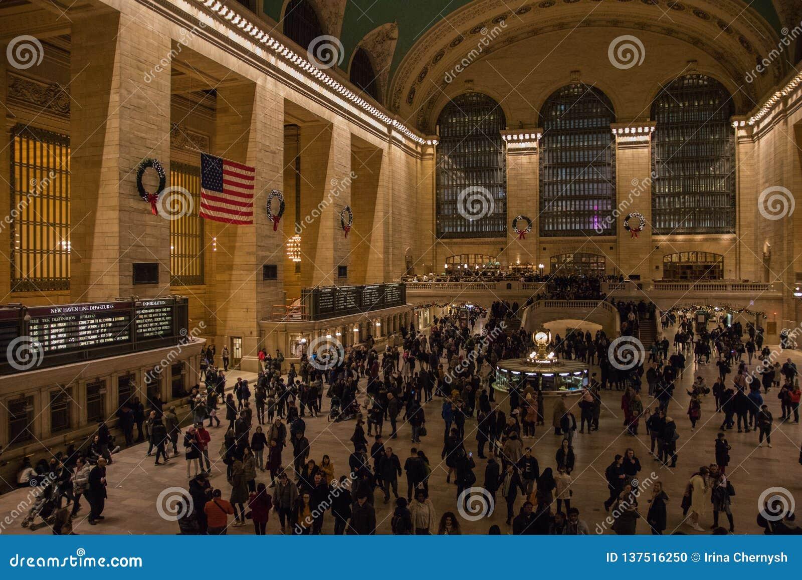 Nowy Jork, usa - 3 Styczeń, 2019 terminal grand centralnego Wnętrze inside