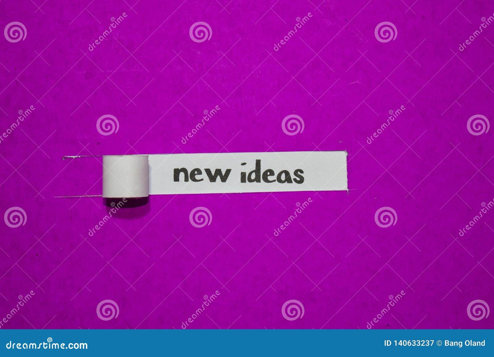 Nowy pomysłów, inspiracji, motywacji i biznesu pojęcie na purpura drzejącym papierze,