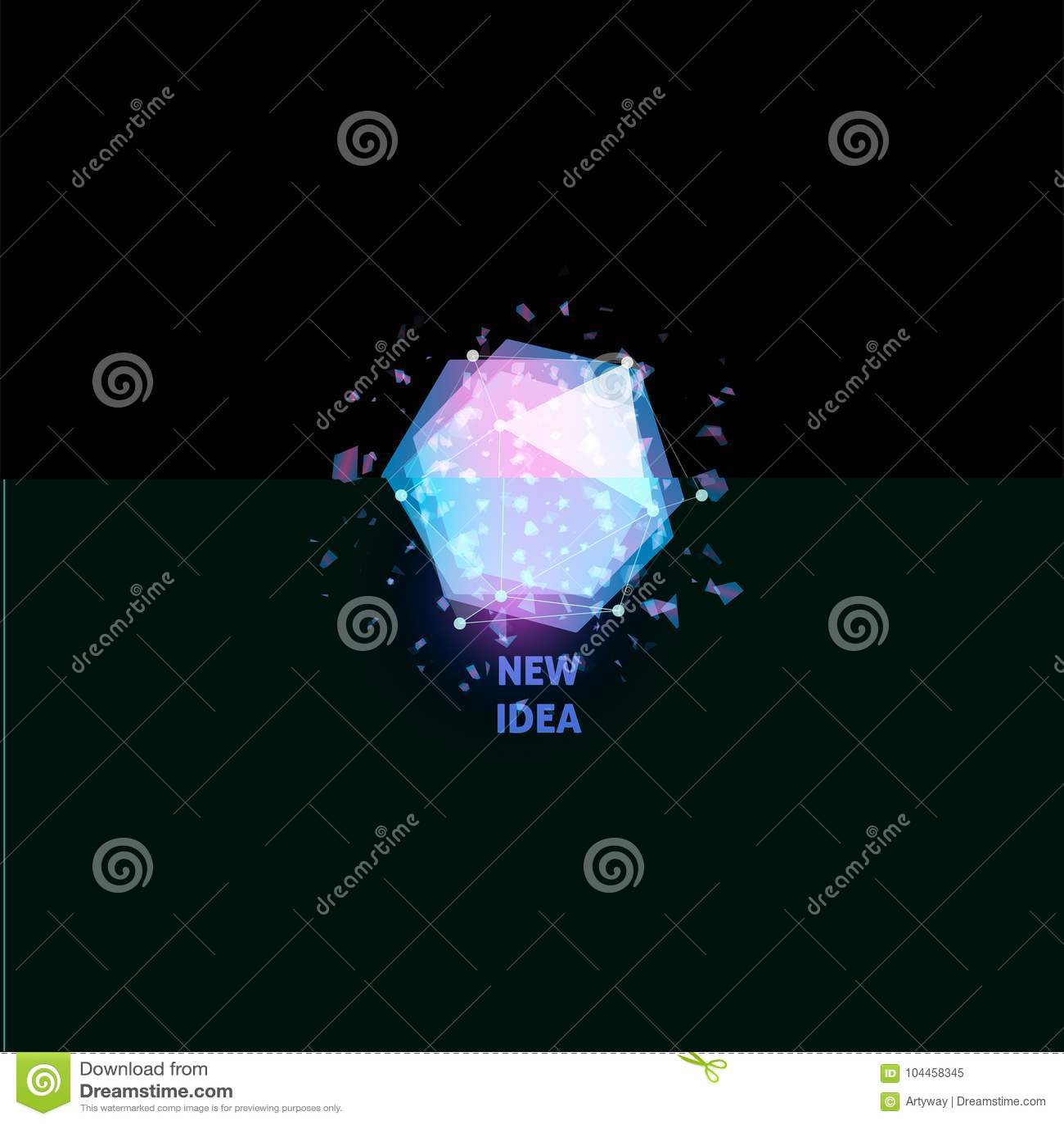 Nowy pomysłu logo, żarówki abstrakcjonistyczna wektorowa ikona Odosobneni różowi i błękitni wieloboki kształtują, stylizowali, la