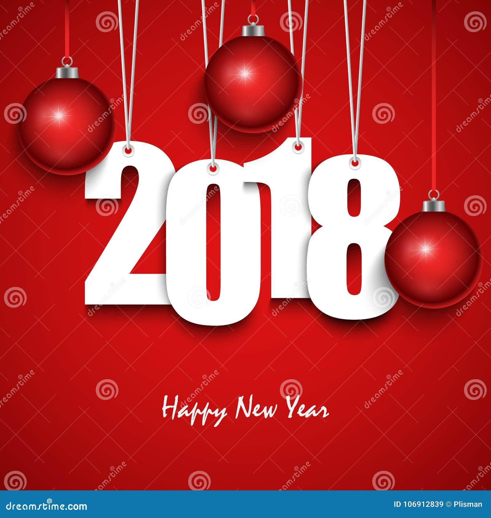 Nowy Rok czerwieni życzenia z obwieszenie sferami i liczbami
