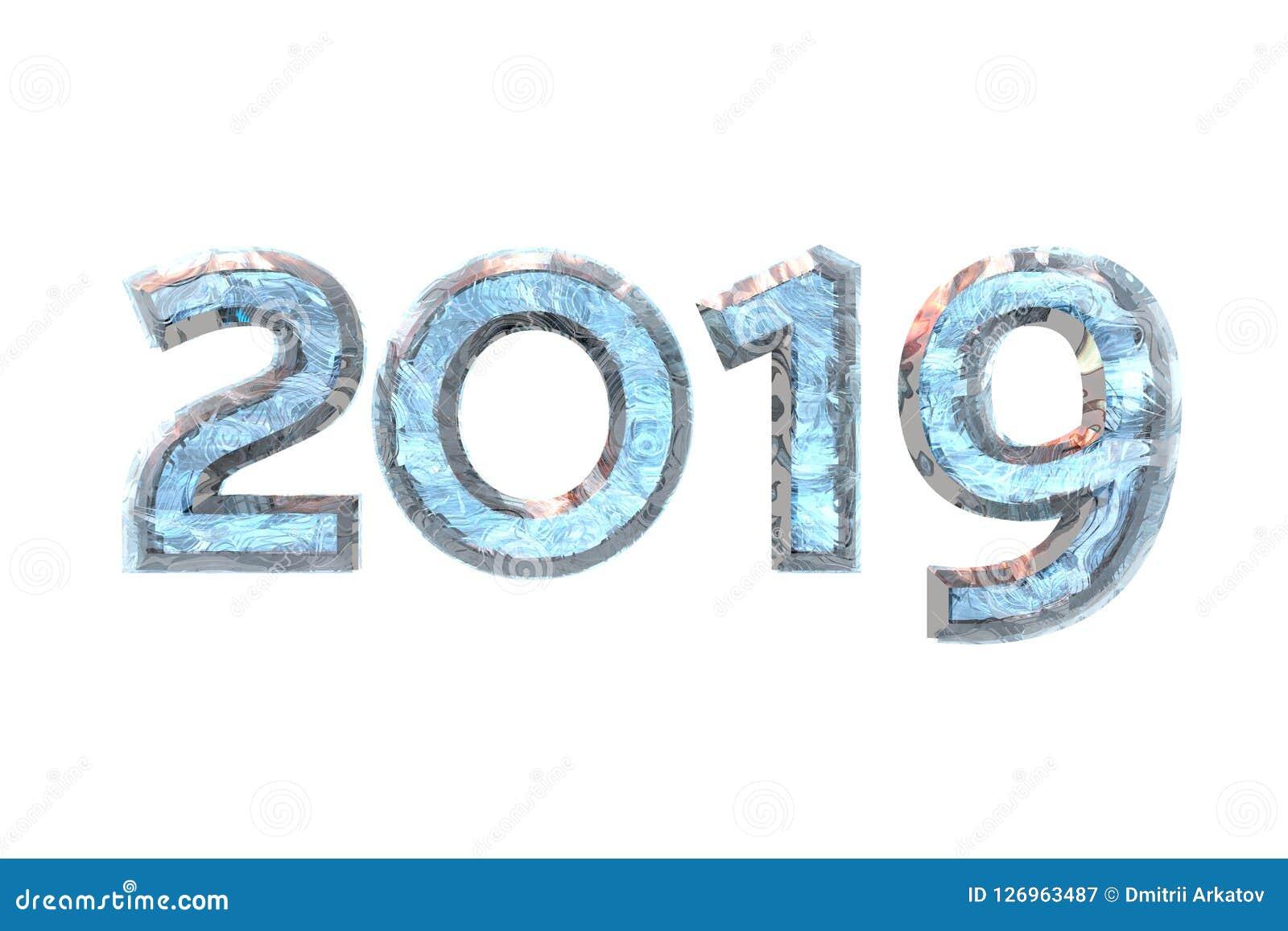 2019 nowy rok liczebnika lód na białym odosobnionym tle - ludzki charakter - 3d rend