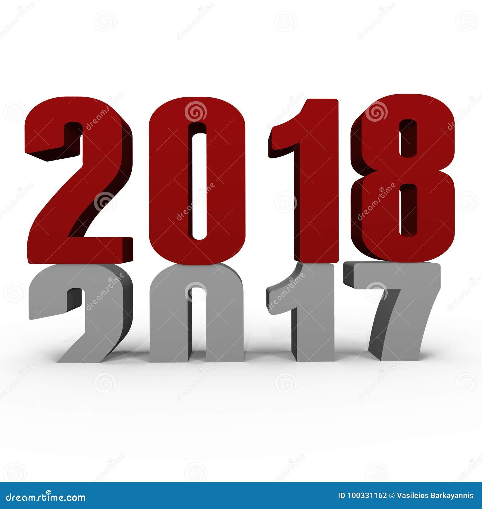 Nowy Rok 2018 pcha 2017 puszków - 3d wizerunek