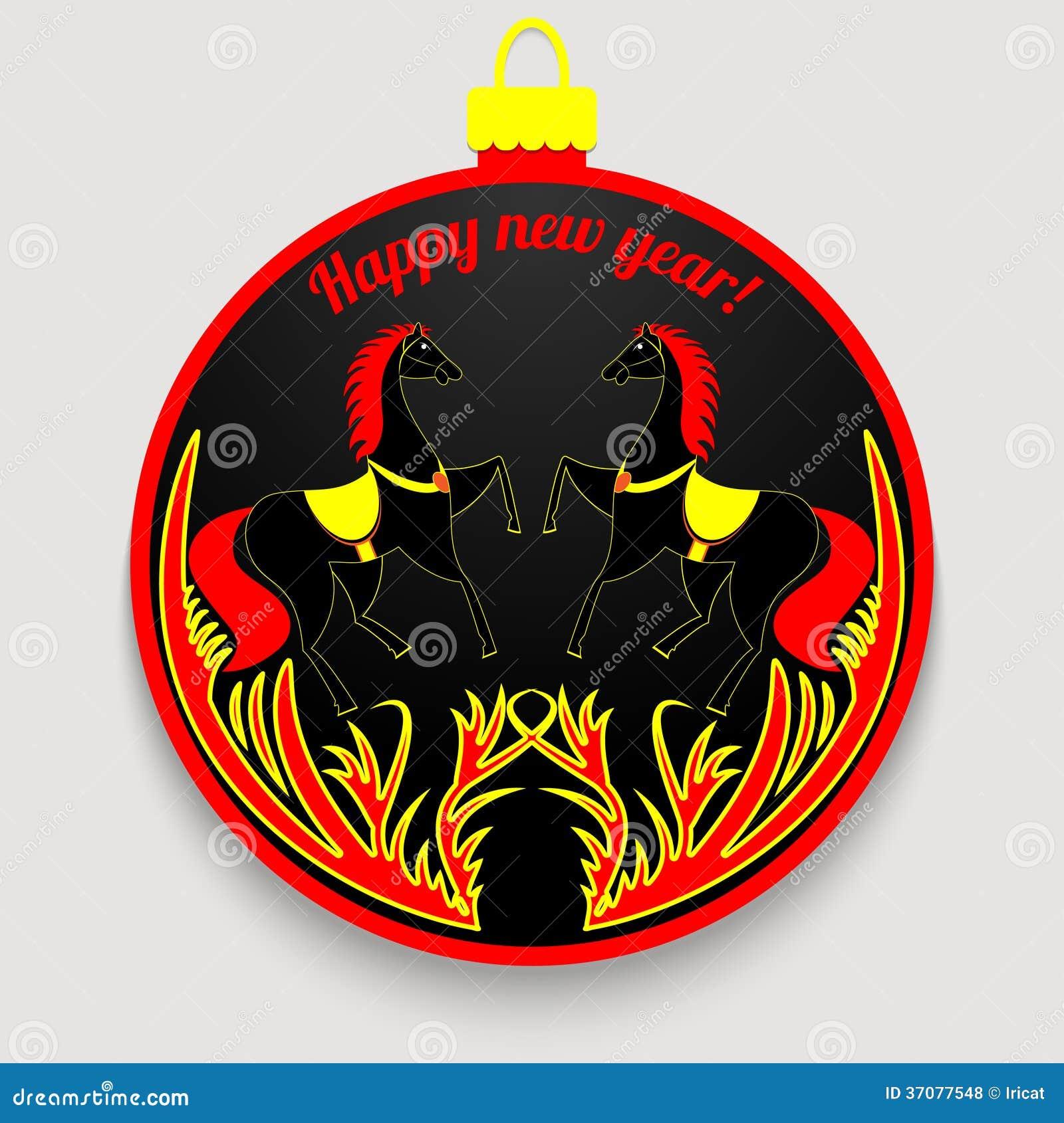 Download Nowy Rok piłka ilustracji. Ilustracja złożonej z etykietka - 37077548