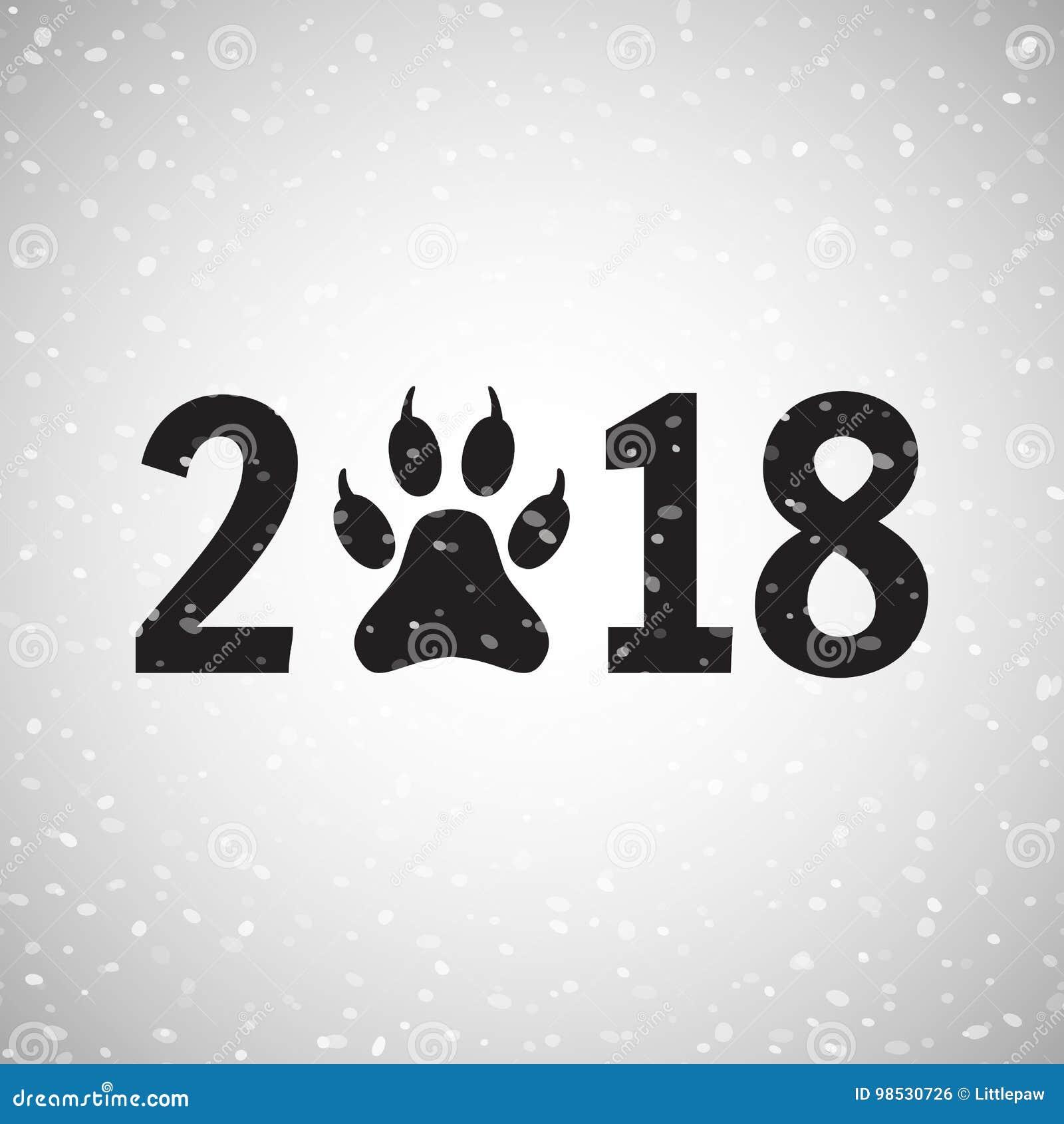 Nowy Rok psia wakacyjna pocztówka z łapa odciskiem stopy, wektor