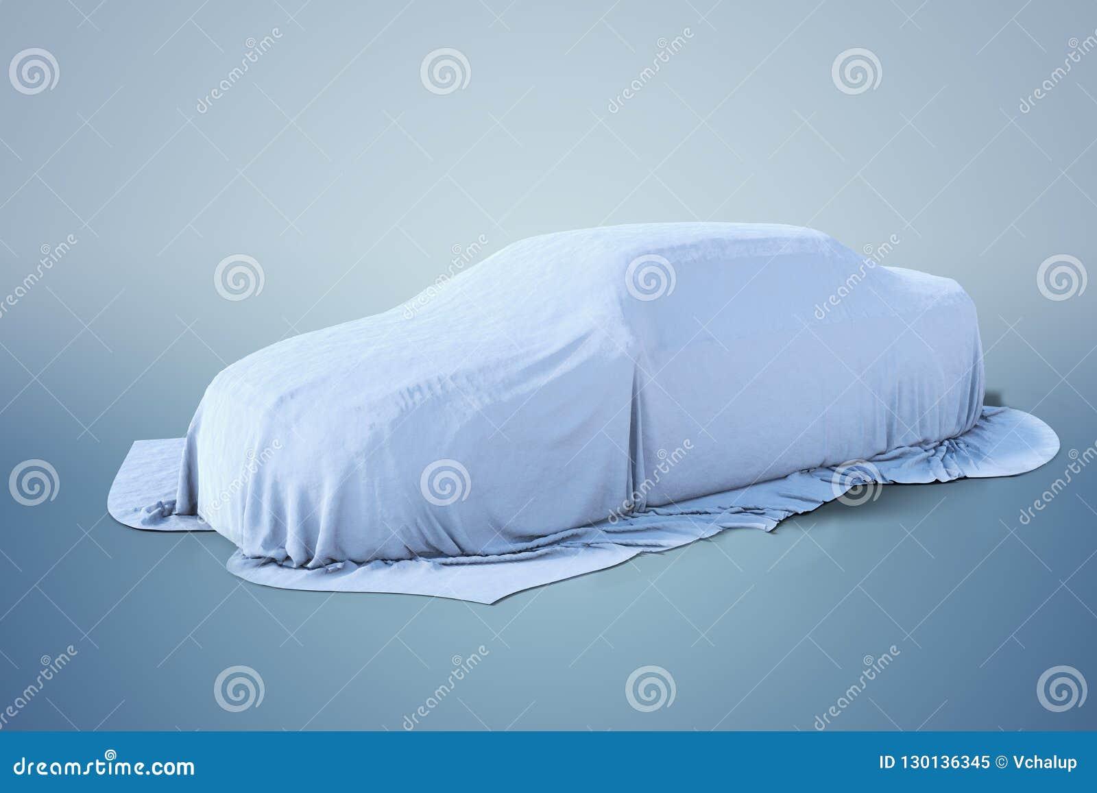 Nowy samochód zakrywający z białym płótnem ilustracja pozbawione 3 d