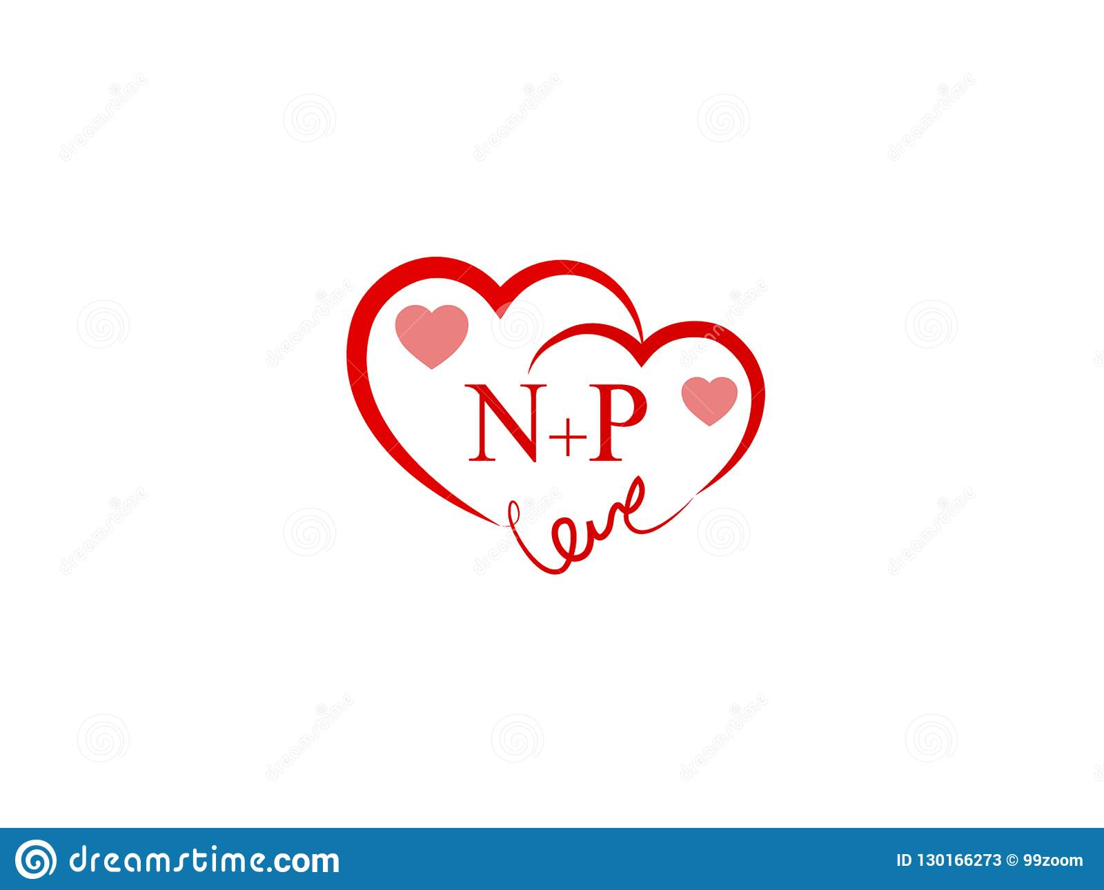 Np Initial Heart Shape Red Colored Love Logo Stock Vector