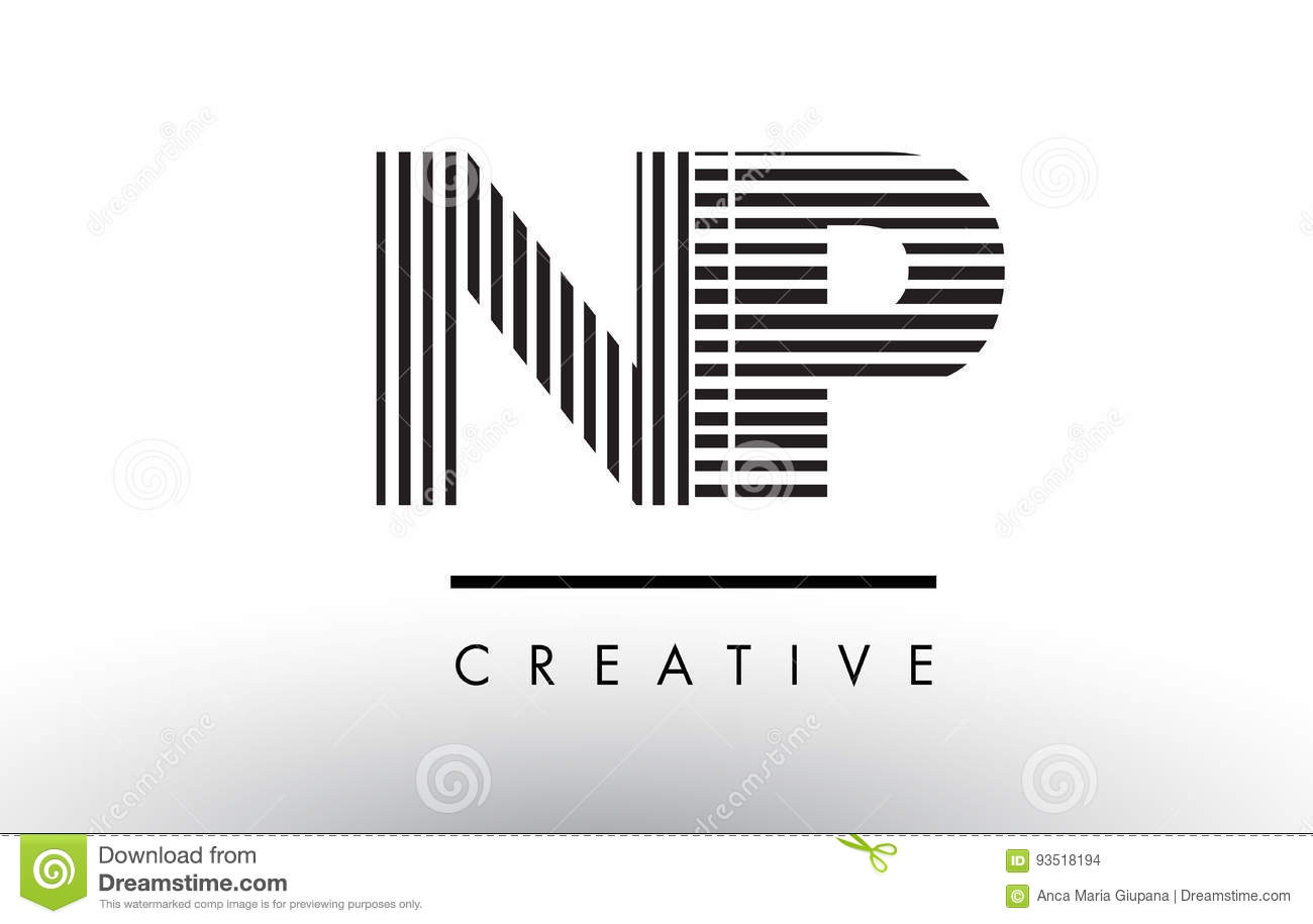 Np N P Black And White Lines Letter Logo Design Stock Vector