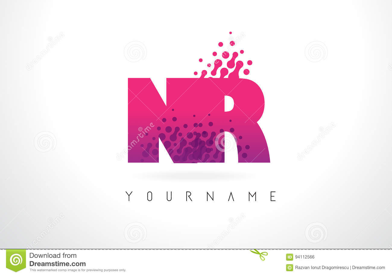 NR N R Letter Logo With Pink Purple Color And Particles Dots Des ...