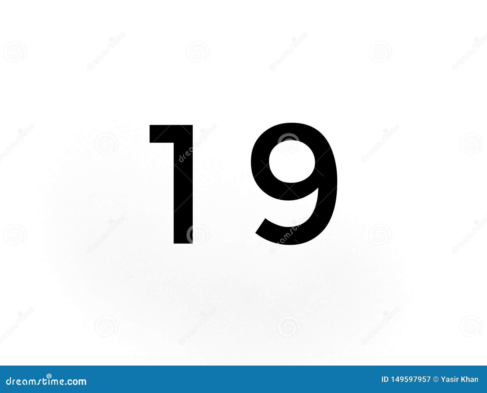 Nr. neunzehn 19 in der schwarzen Farbe