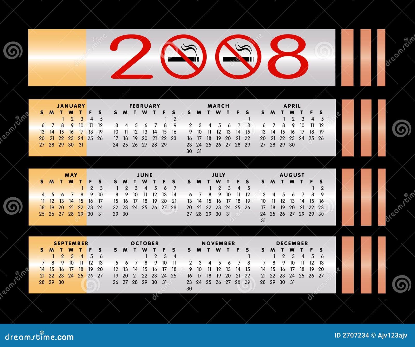 Nr - rokende teken 2008 kalender