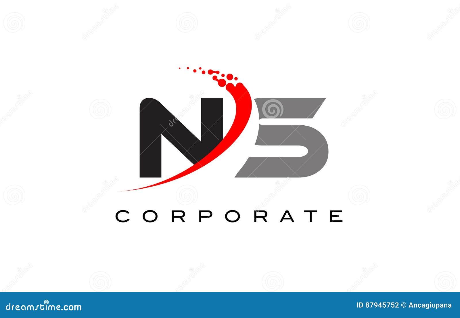 NS Modern Letter Logo Design With Swoosh Stock Vector ...