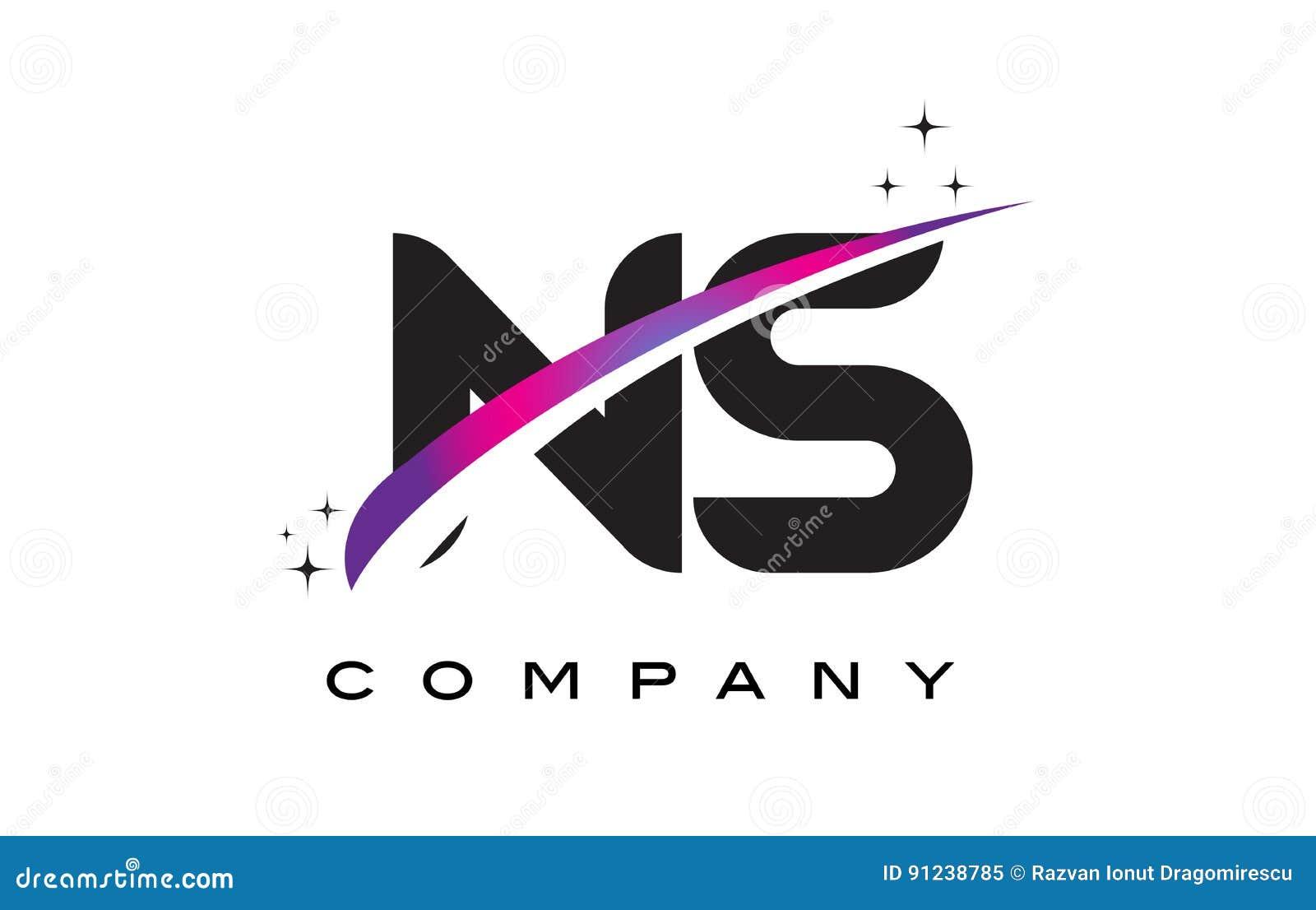 NS N S Black Letter Logo Design With Purple Magenta Swoosh Stock ...