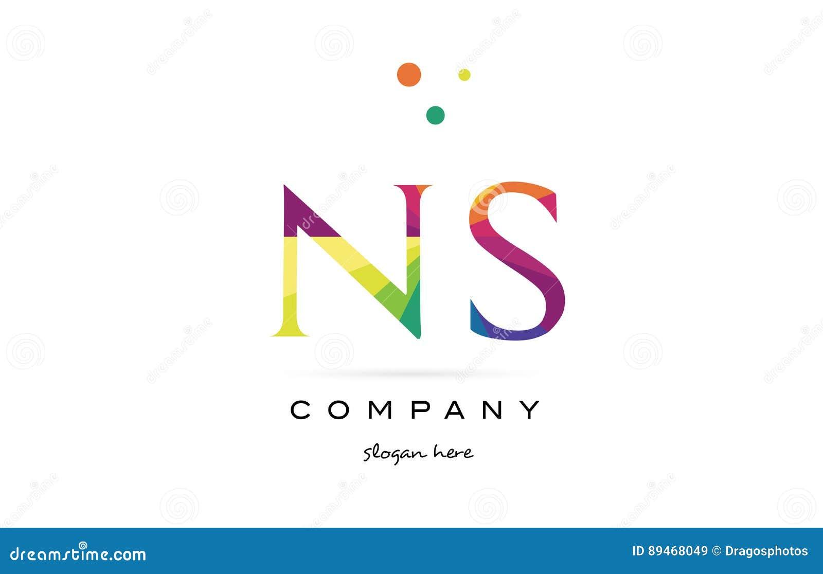 Ns N S Creative Rainbow Colors Alphabet Letter Logo Icon Stock ...