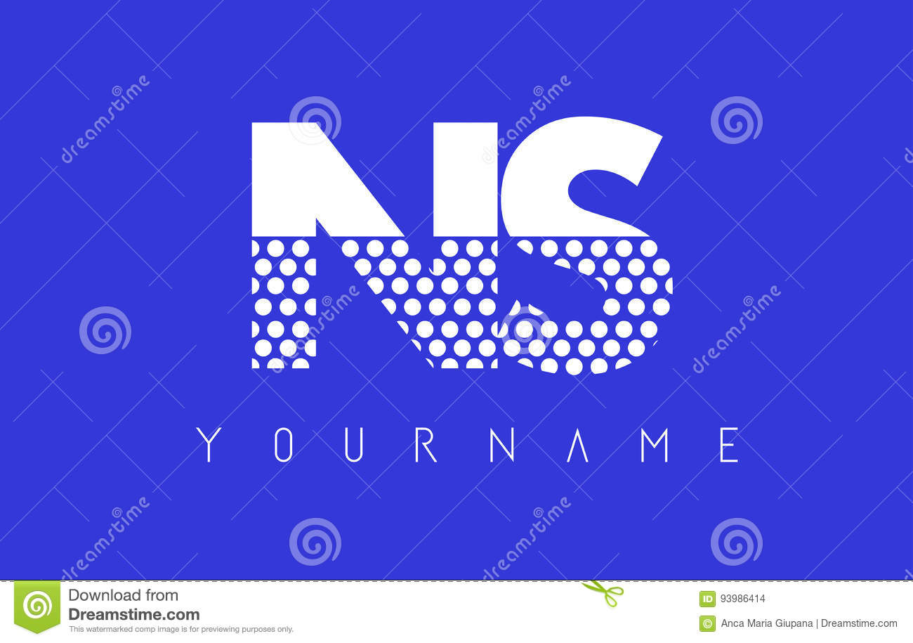 NS N S Dotted Letter Logo Design With Blue Background. Stock ...